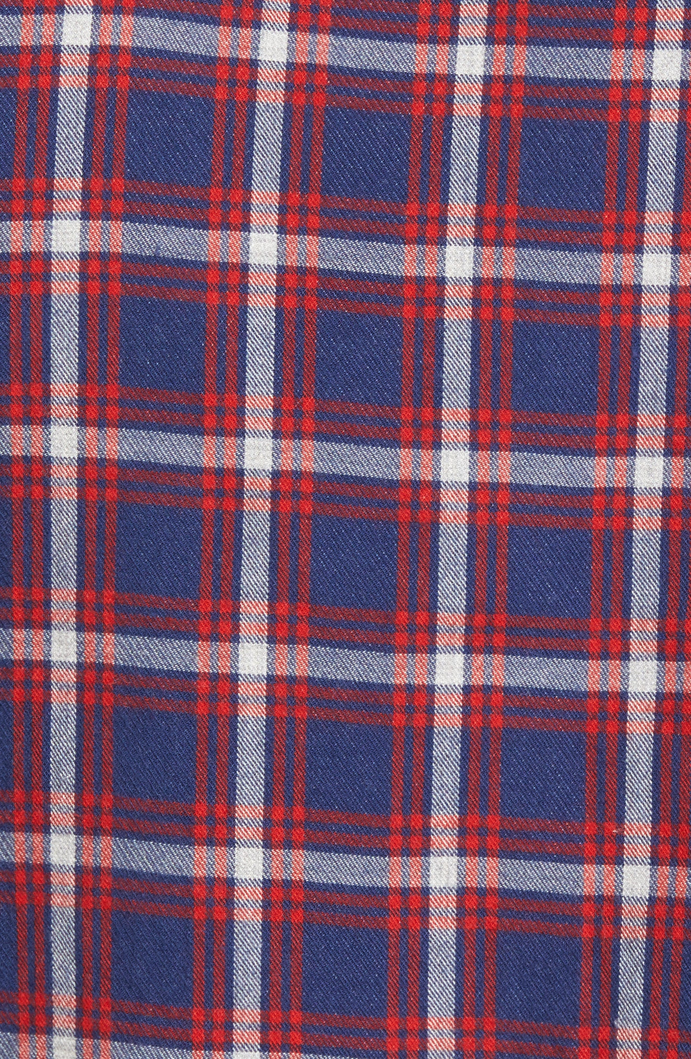 Trim Fit Duofold Check Sport Shirt,                             Alternate thumbnail 5, color,                             Navy Iris Red Plaid Duofold