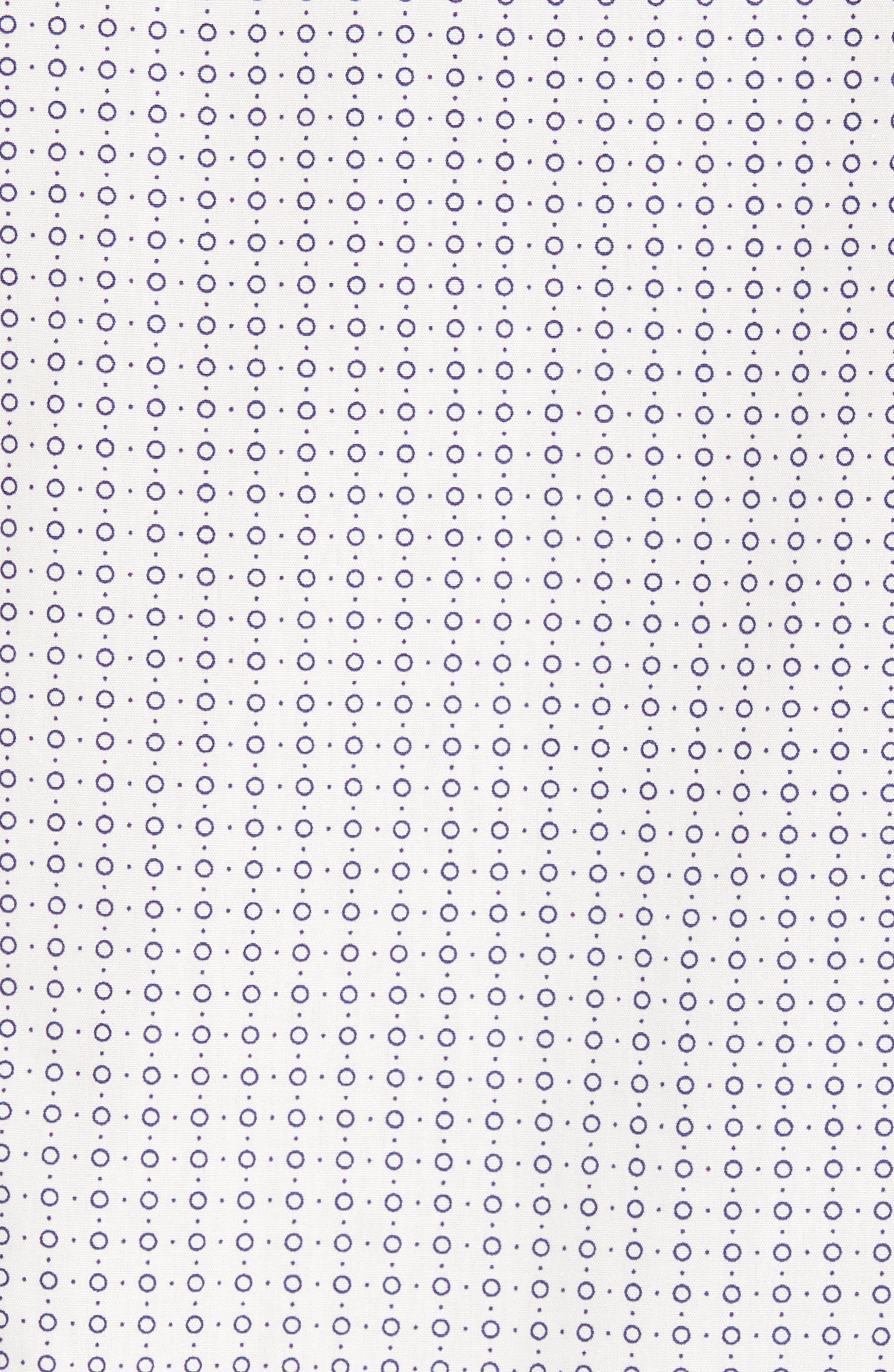 Trim Fit Non-Iron Circle Print Sport Shirt,                             Alternate thumbnail 5, color,                             Ivory Egret Circle Print