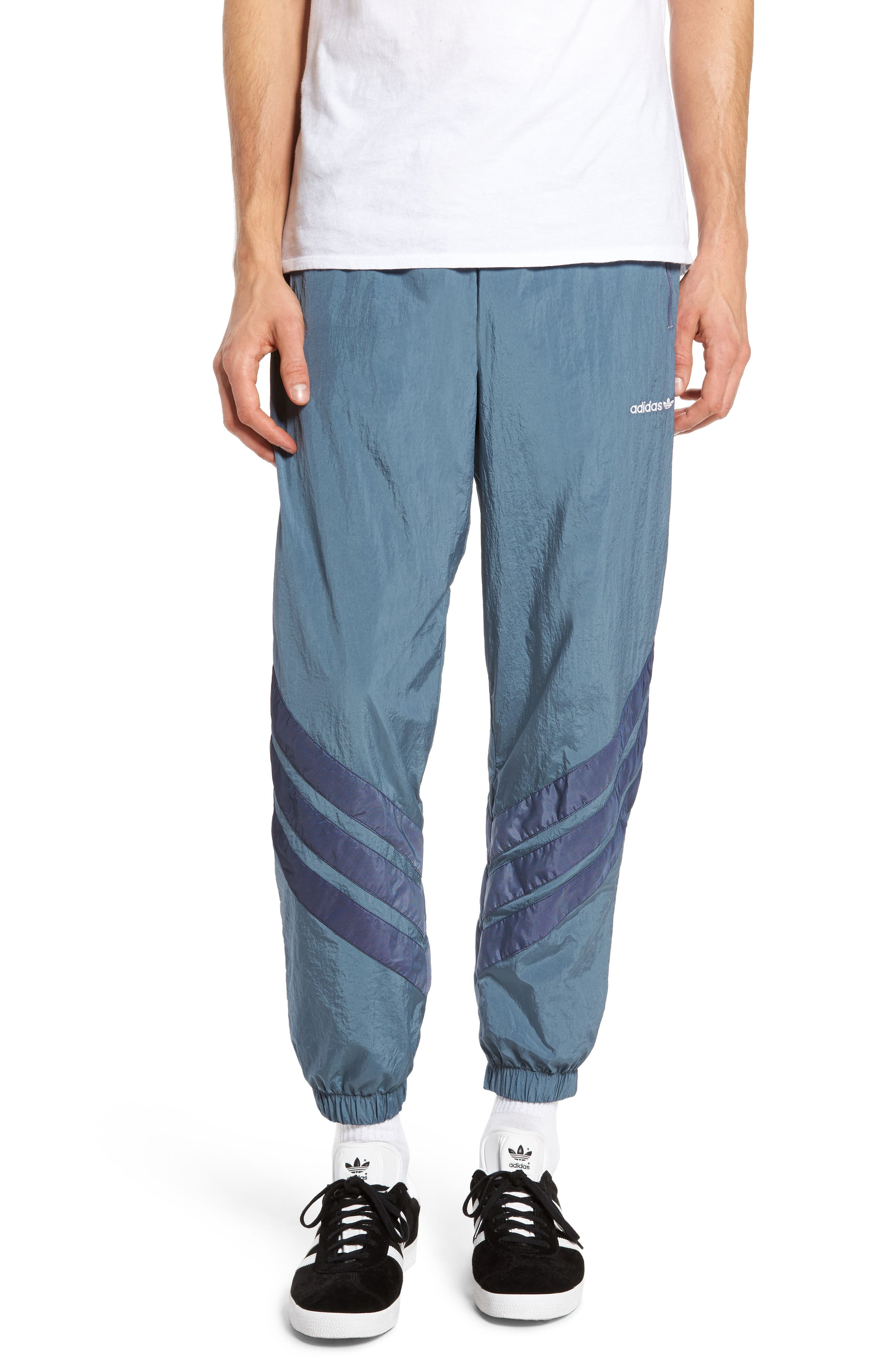Originals V-Stripe Windpants,                             Main thumbnail 1, color,                             Raw Steel/ White