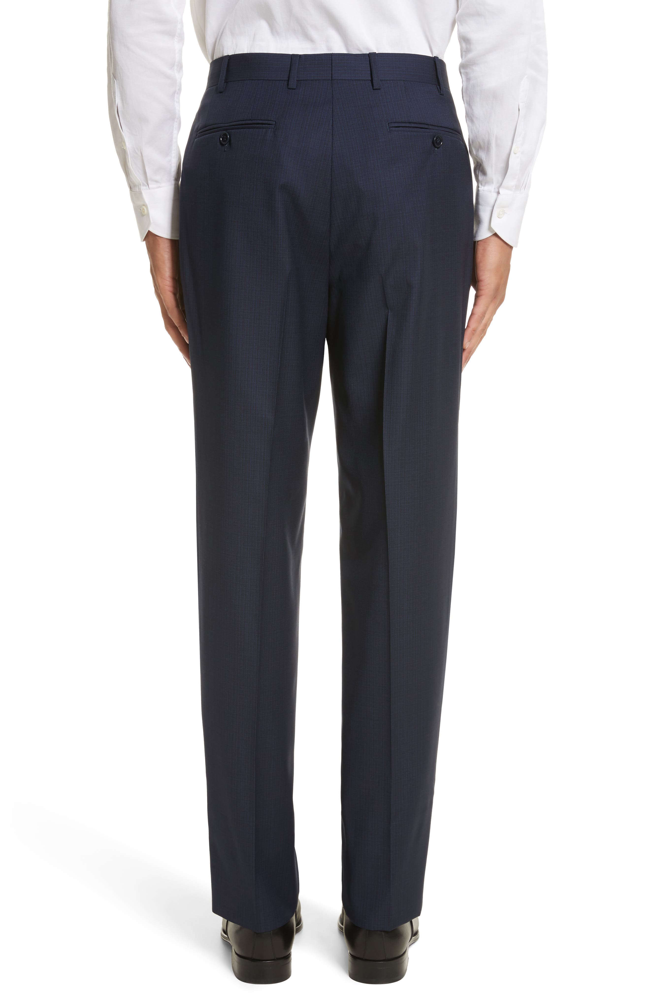 Flat Front Check Wool Trousers,                             Alternate thumbnail 2, color,                             Blue