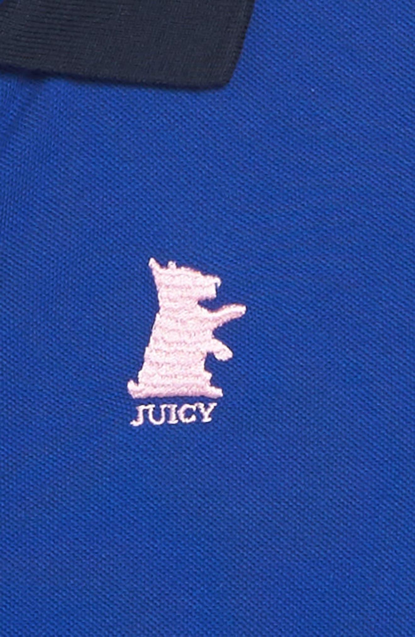 Piqué Polo Dress,                             Alternate thumbnail 3, color,                             Blue Night