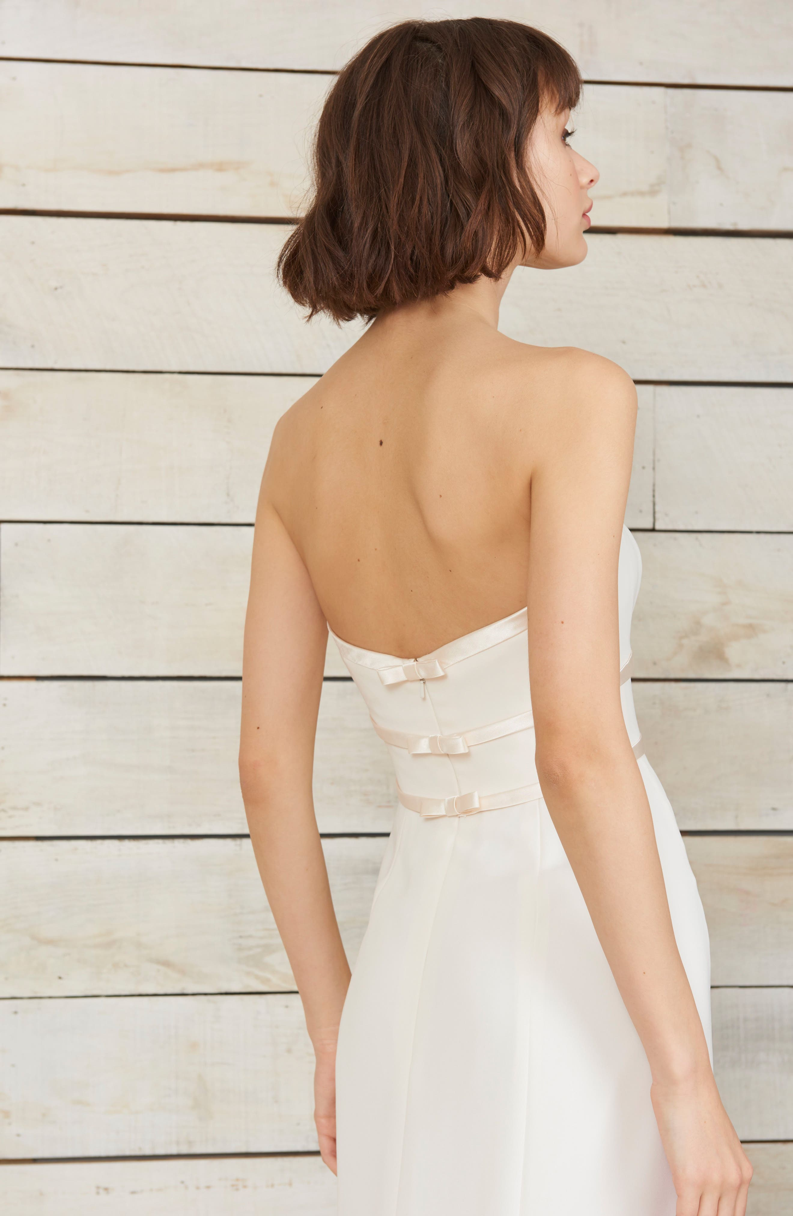 Arielle Bow Detail Strapless Crepe Gown,                             Alternate thumbnail 3, color,                             Ivory