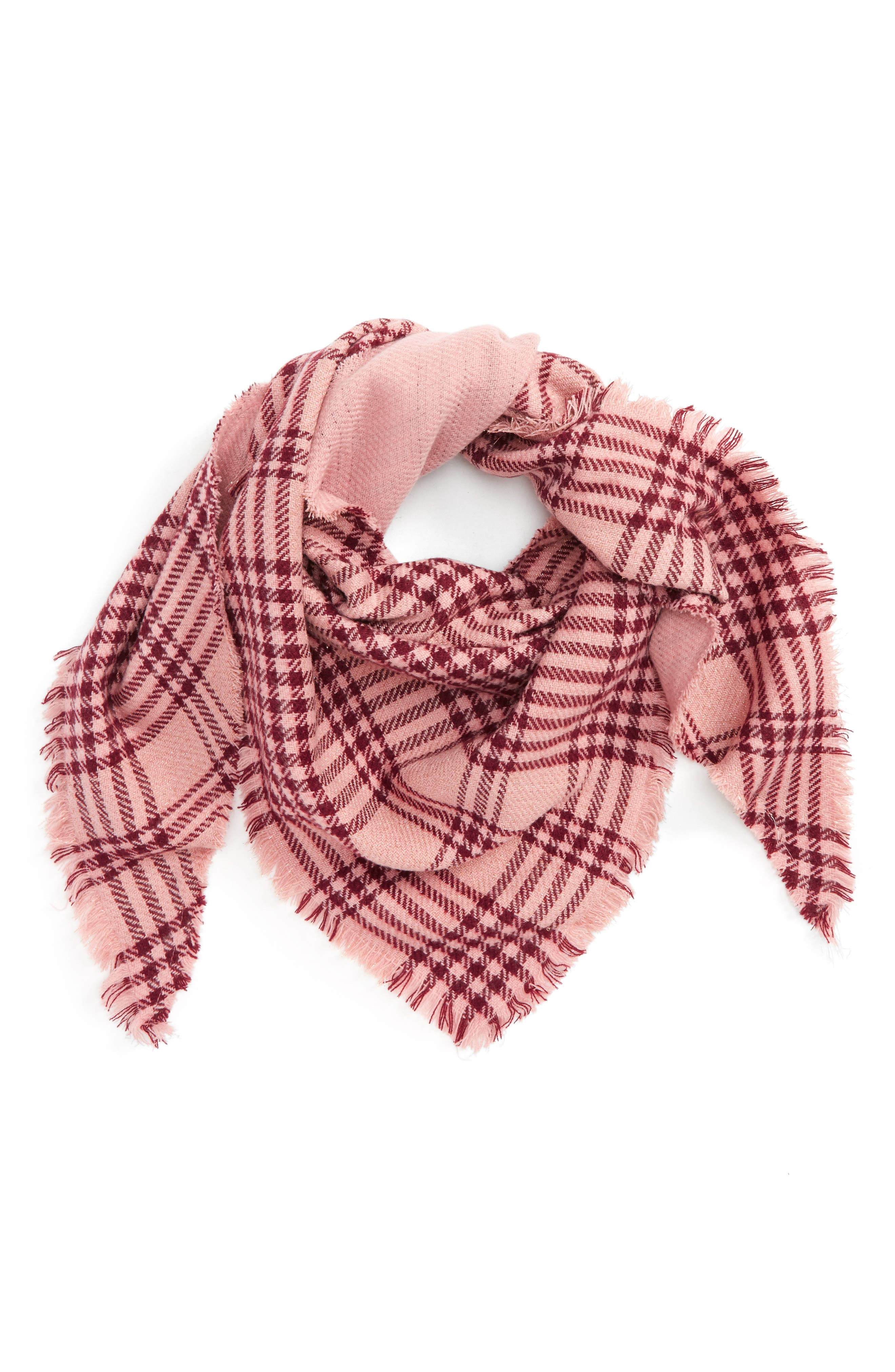 Alternate Image 1 Selected - David & Young Metallic Plaid Triangle Scarf