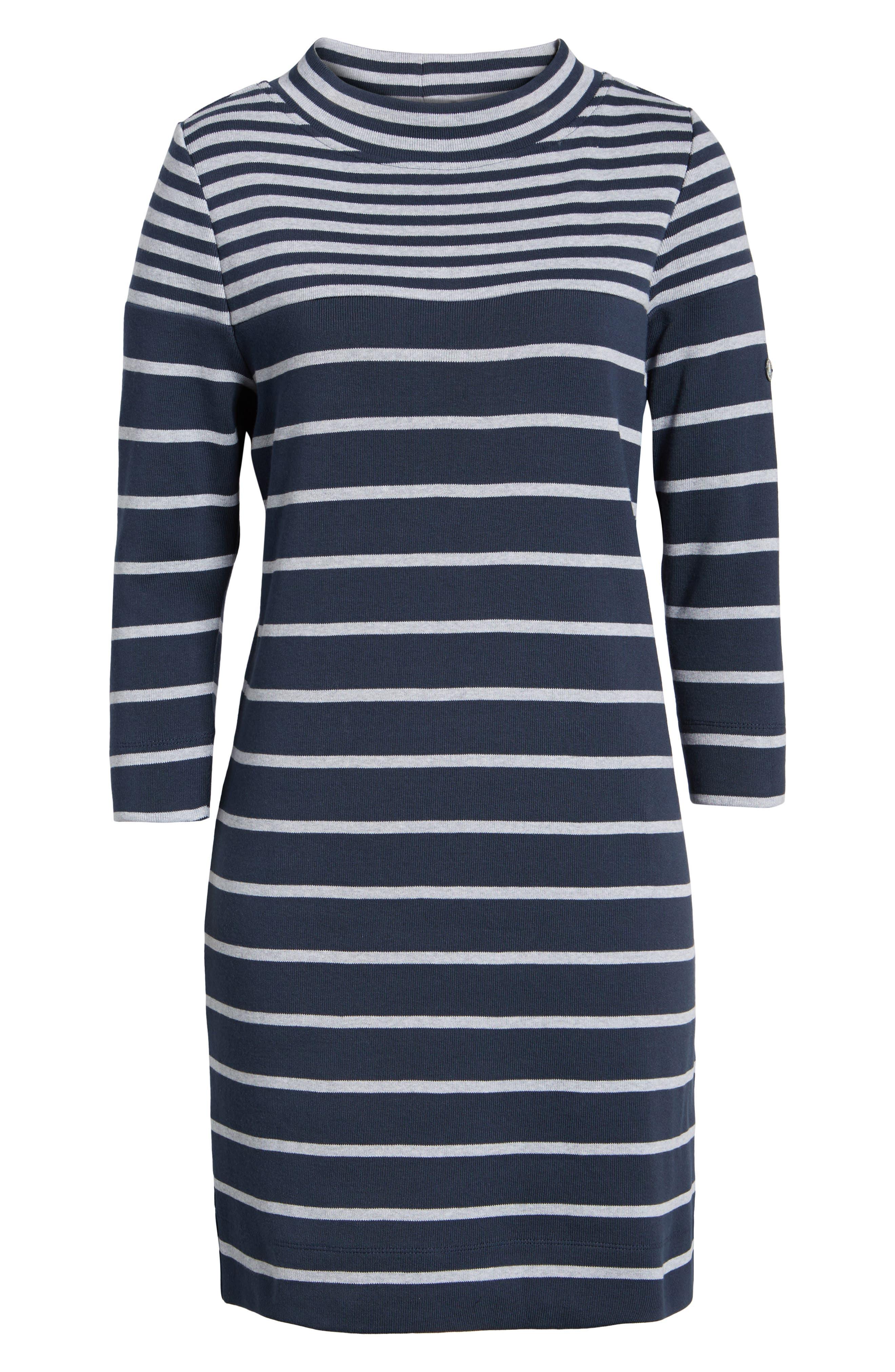 Seaburn Stripe Shift Dress,                             Alternate thumbnail 6, color,                             Navy