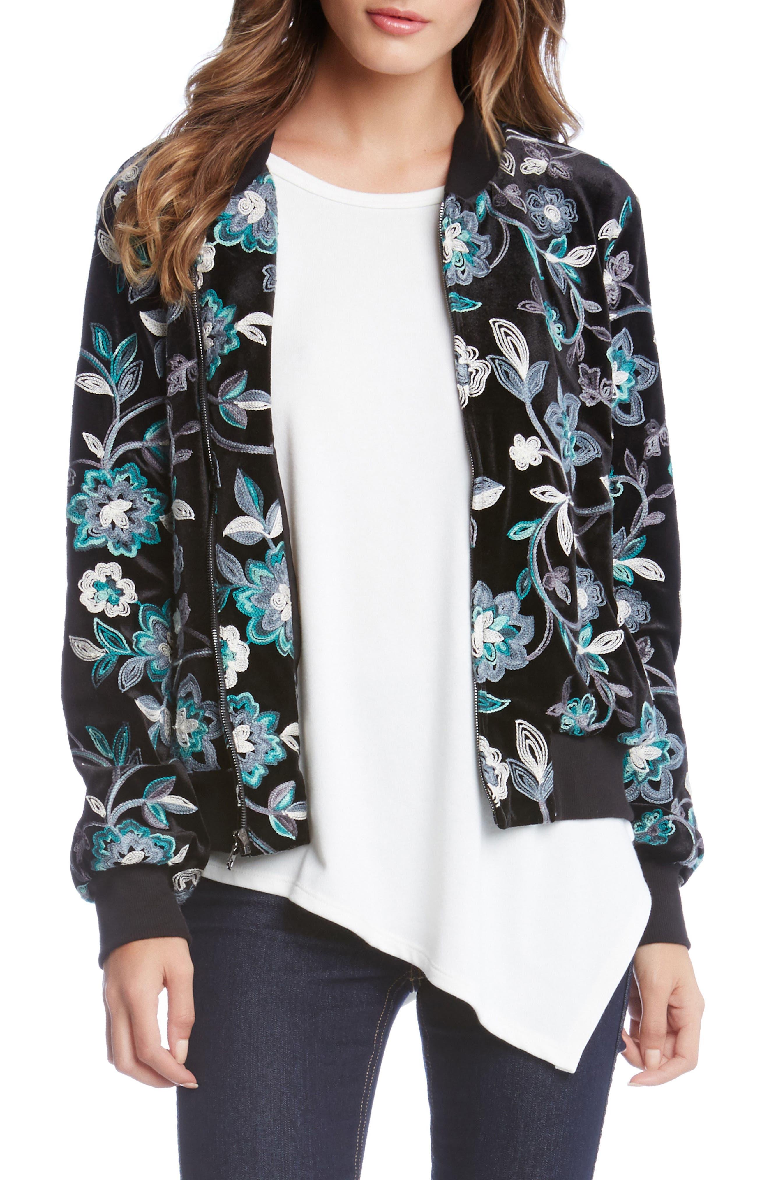 Main Image - Karen Kane Embroidered Velvet Bomber Jacket