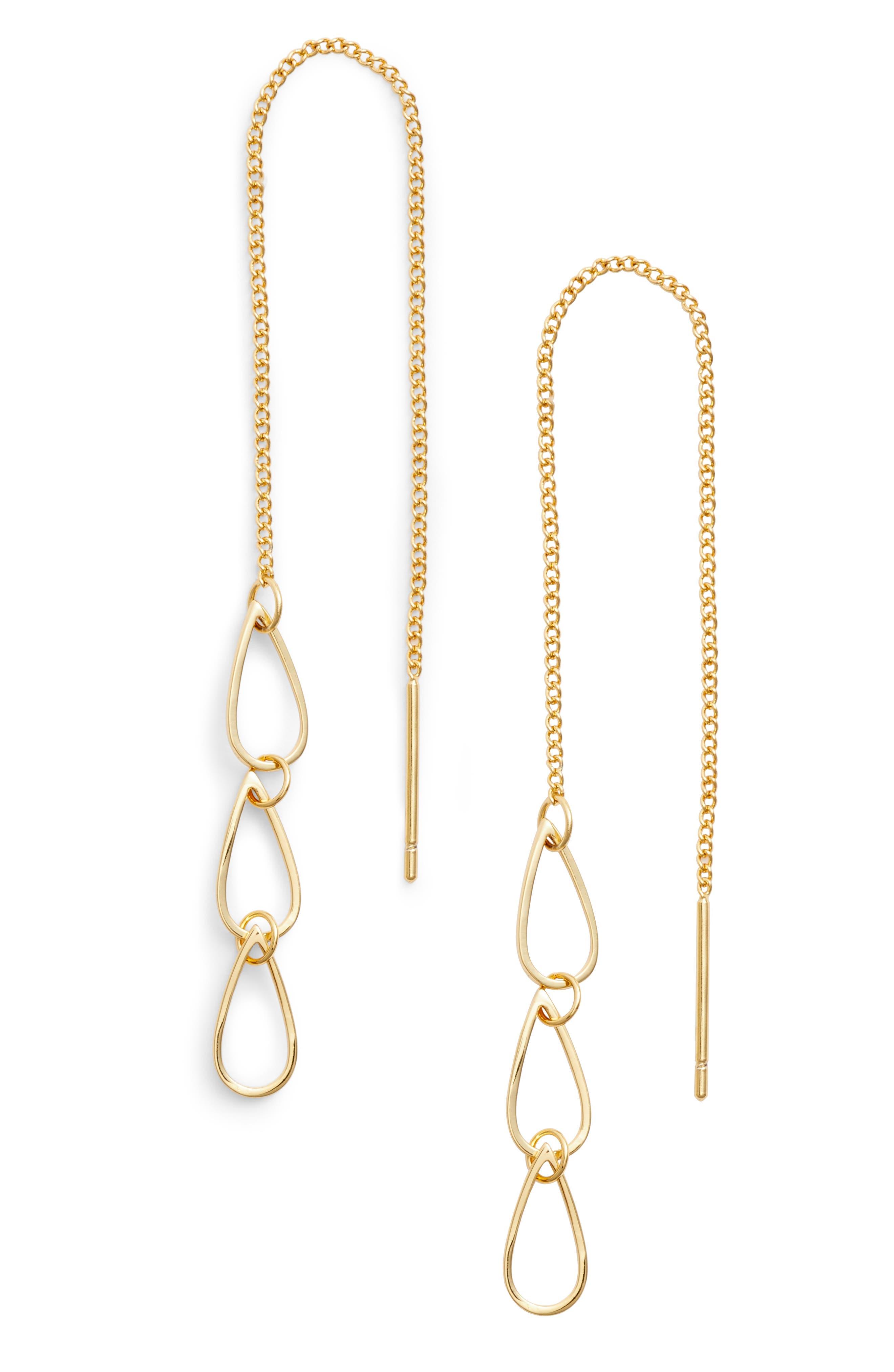 Leiko Threader Earrings,                         Main,                         color, Gold