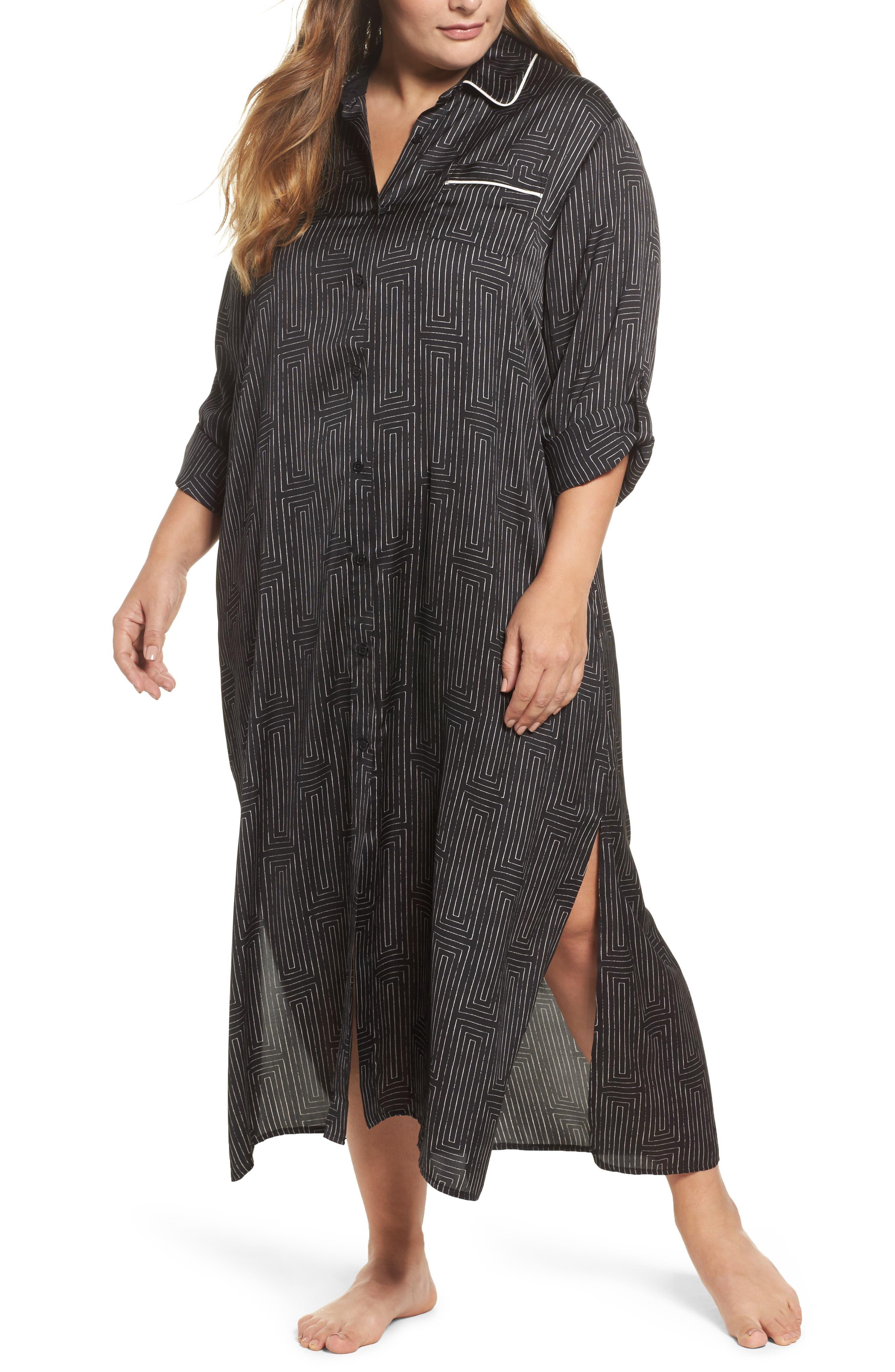 DKNY Washed Satin Maxi Sleep Shirt (Plus Size)