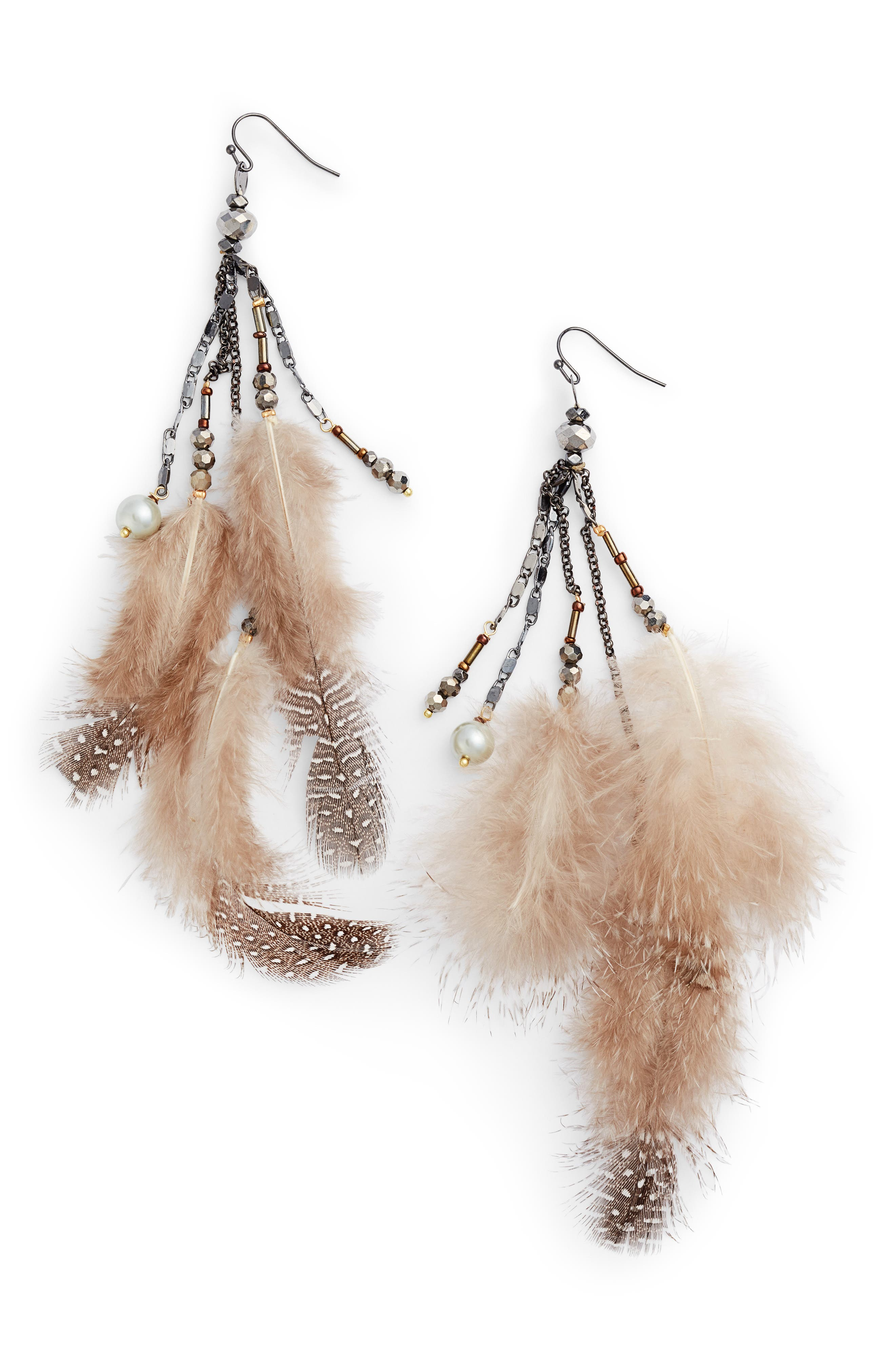 Small Feather Drop Earrings,                         Main,                         color, White
