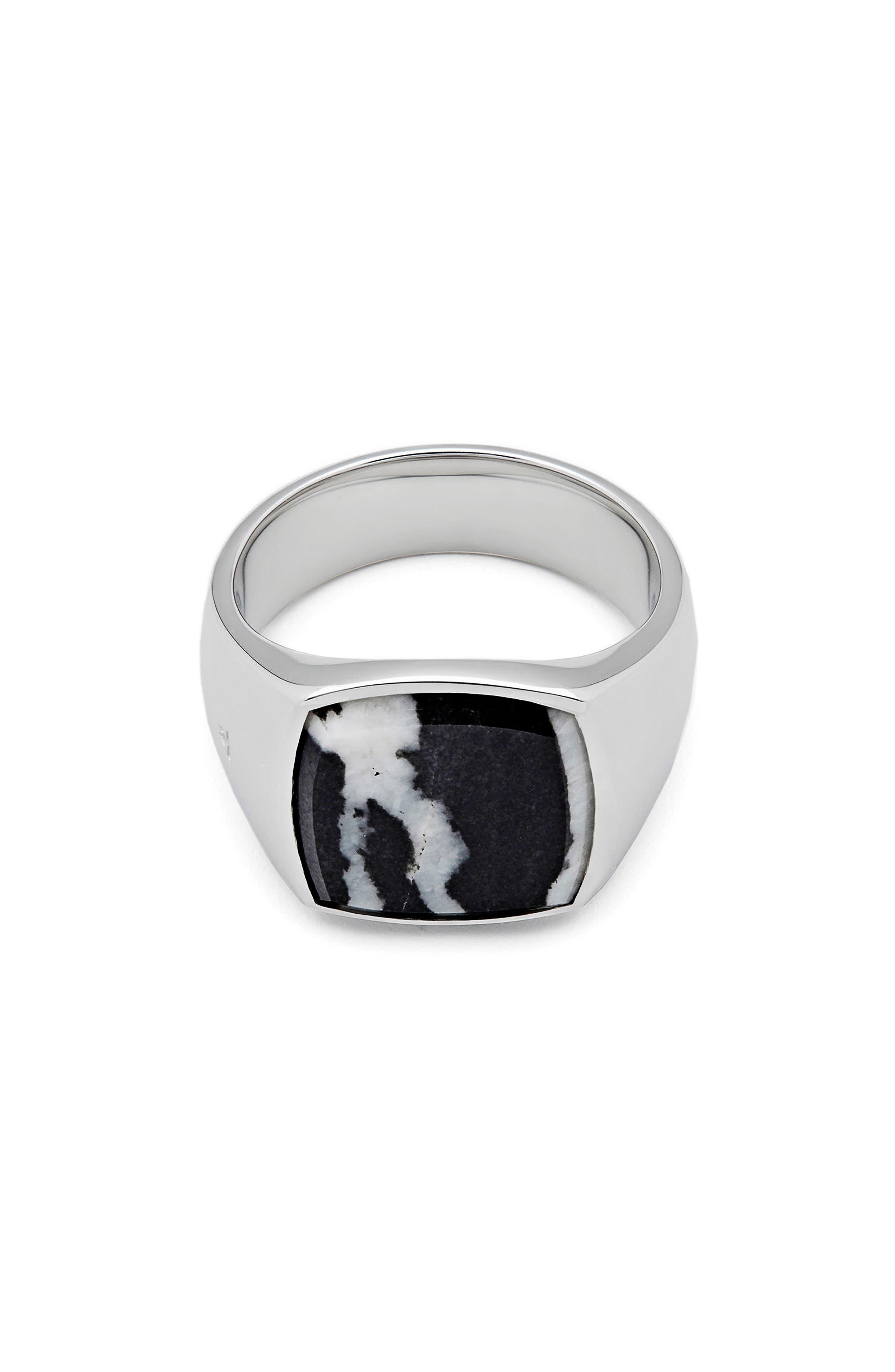Men's Zebra Marble Cushion Signet Ring,                             Main thumbnail 1, color,                             925 Sterling Silver