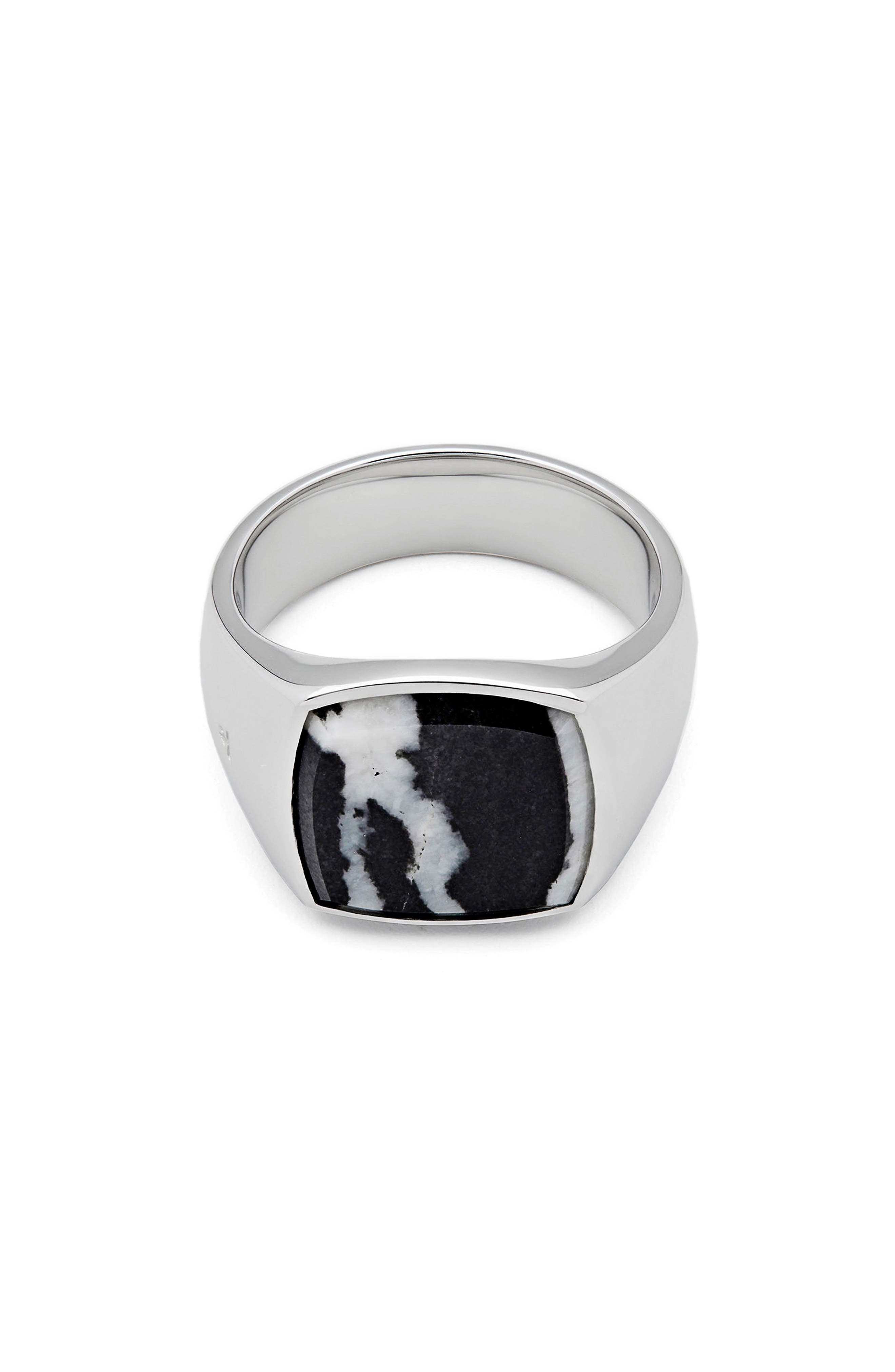 Men's Zebra Marble Cushion Signet Ring,                         Main,                         color, 925 Sterling Silver