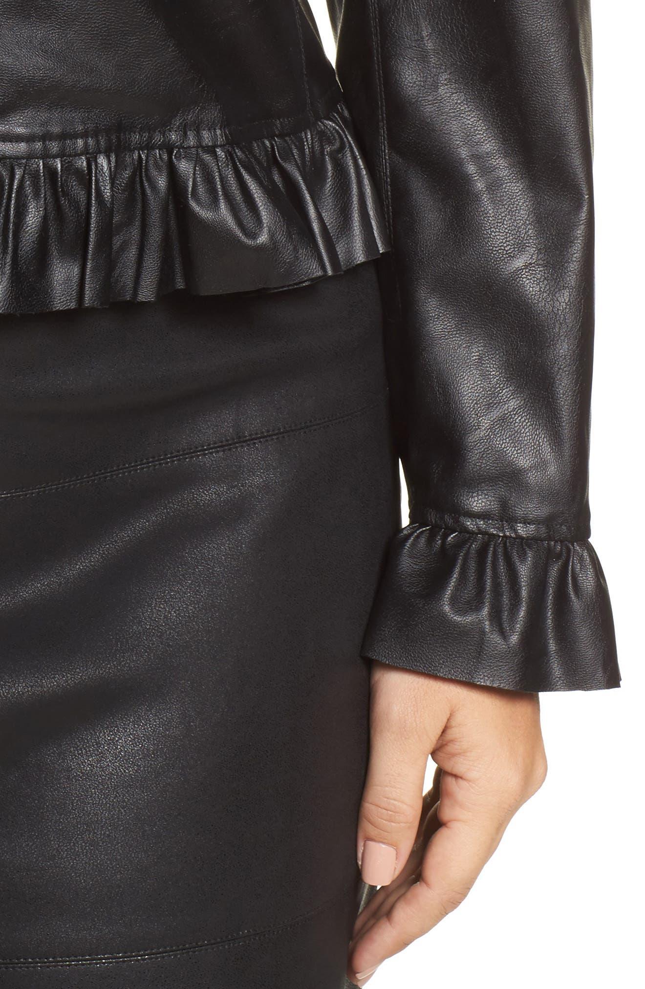 Faux Leather Frill Jacket,                             Alternate thumbnail 4, color,                             Black