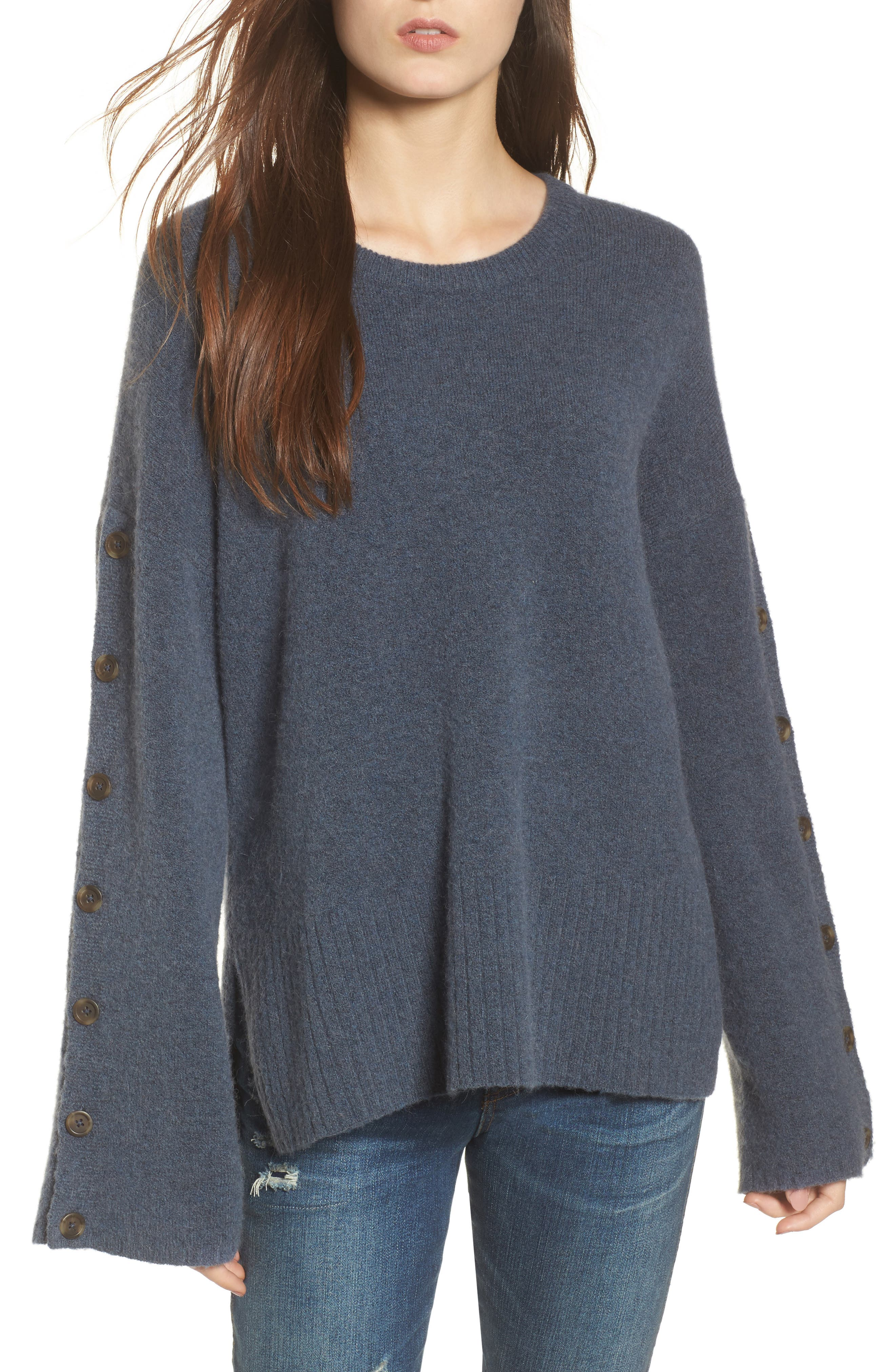 Main Image - Madewell Button Sleeve Pullover Sweater
