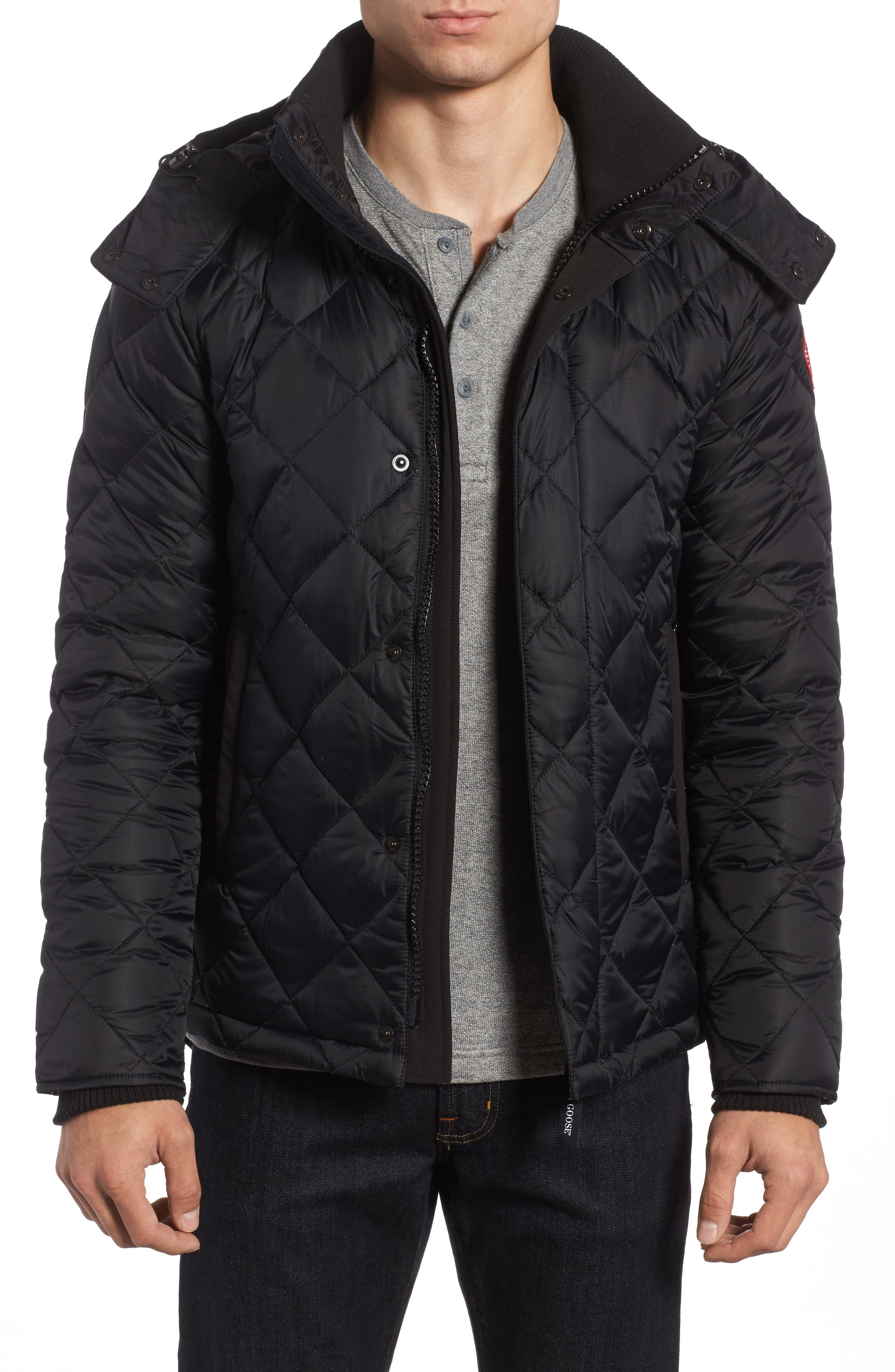 Hendriksen Quilted Down Coat,                             Main thumbnail 1, color,                             Black