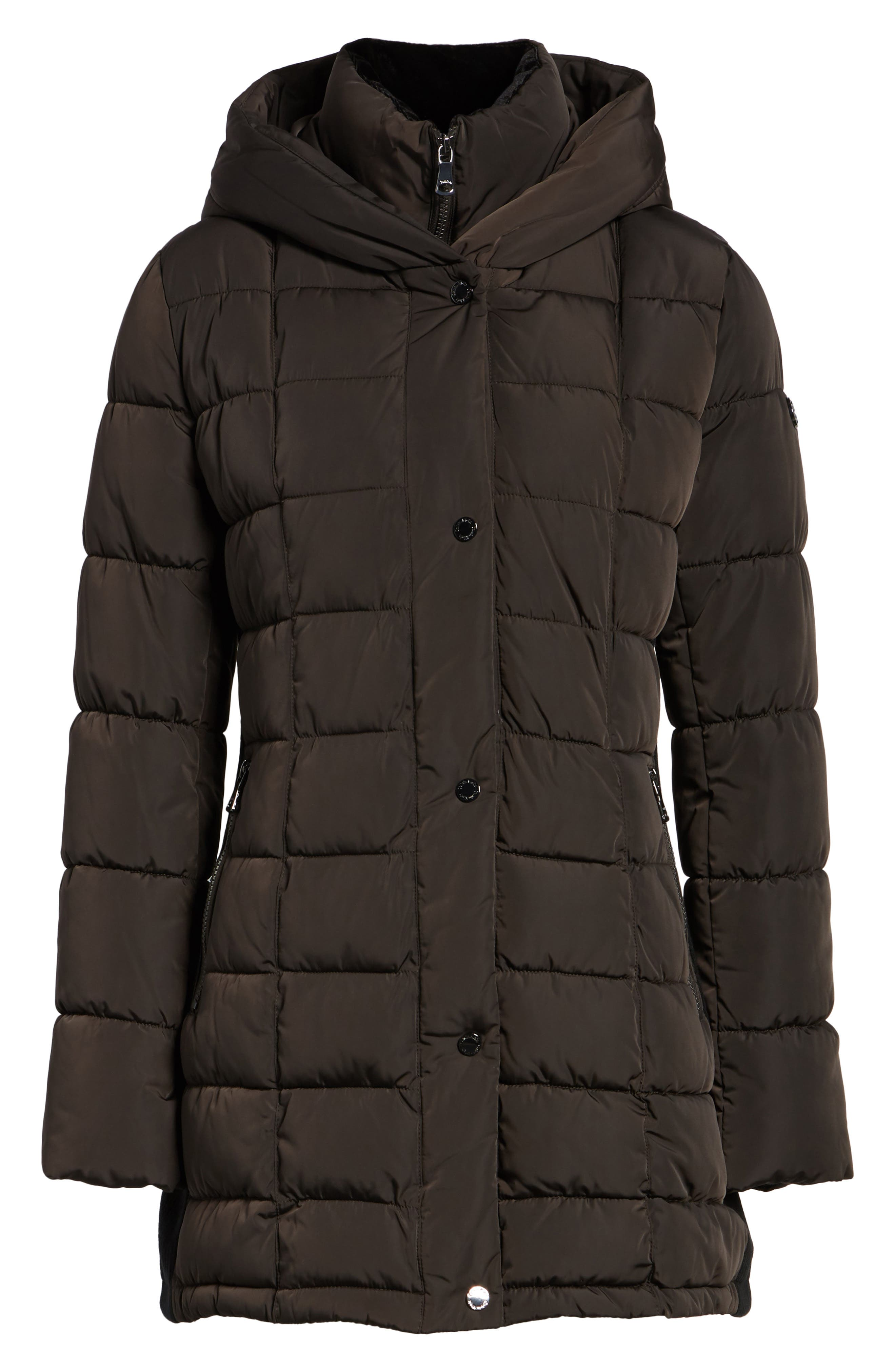 Quilted Down Coat with Vest Inset,                         Main,                         color, Espresso