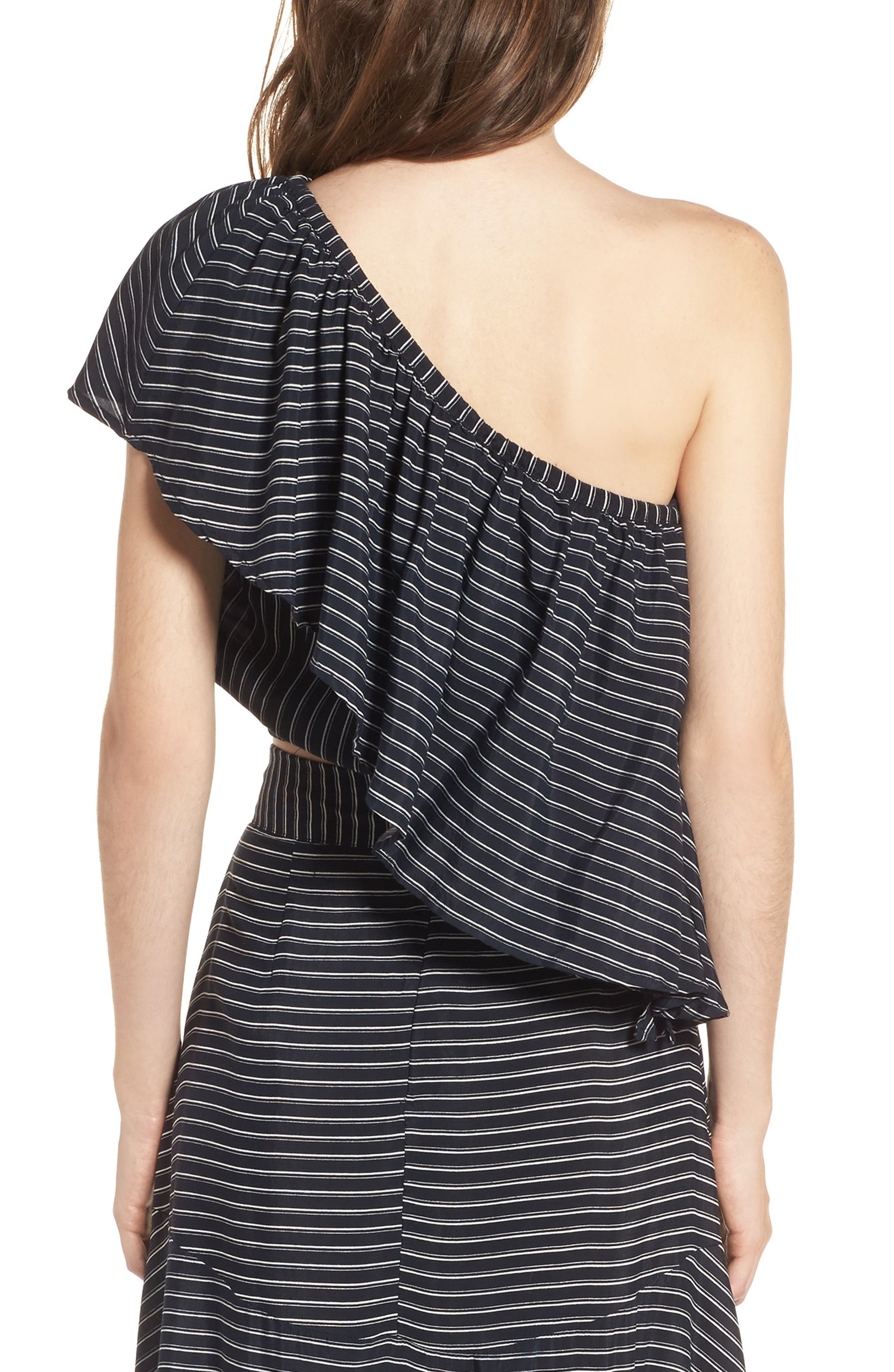 San Andres One Shoulder Ruffle Top,                             Alternate thumbnail 2, color,                             San Cristobal Stripe Print
