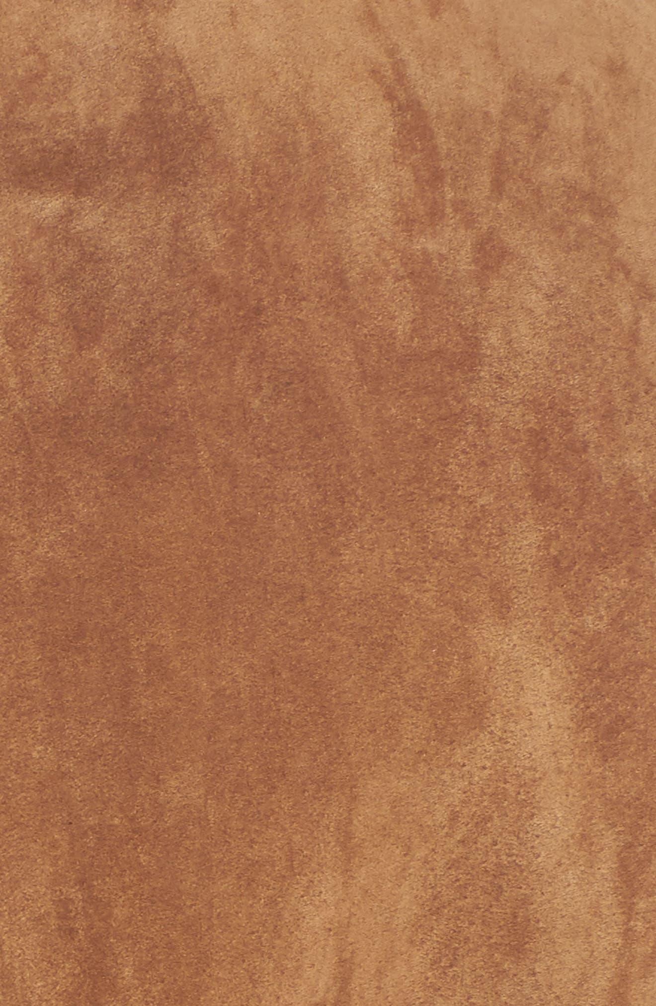 Leather Jacket with Faux Fur Trim,                             Alternate thumbnail 5, color,                             Chestnut