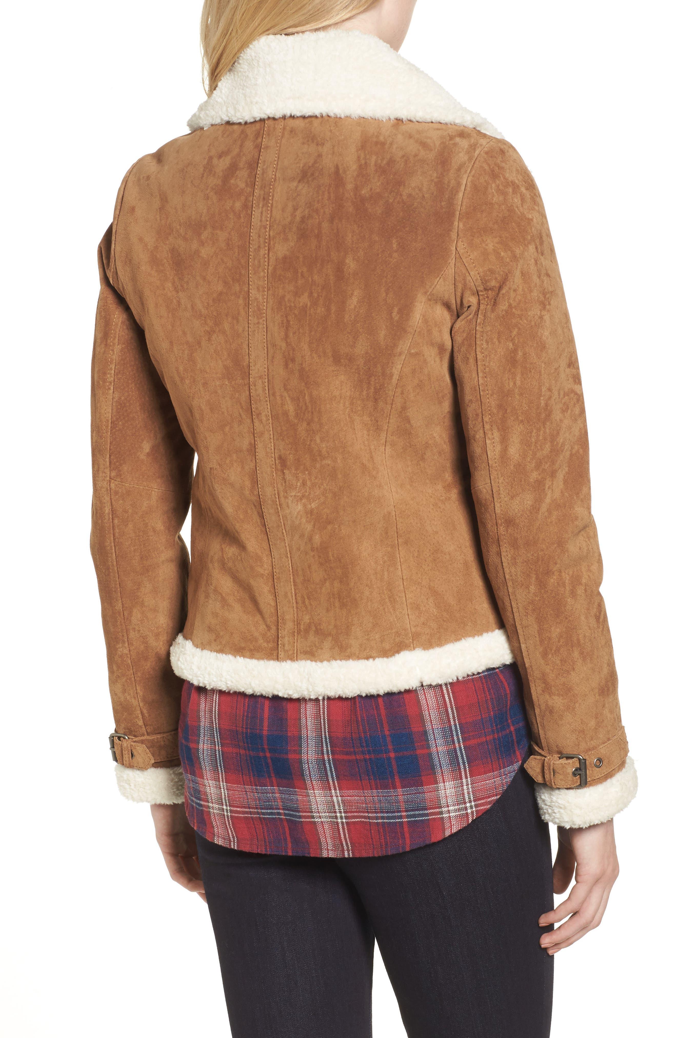 Leather Jacket with Faux Fur Trim,                             Alternate thumbnail 2, color,                             Chestnut