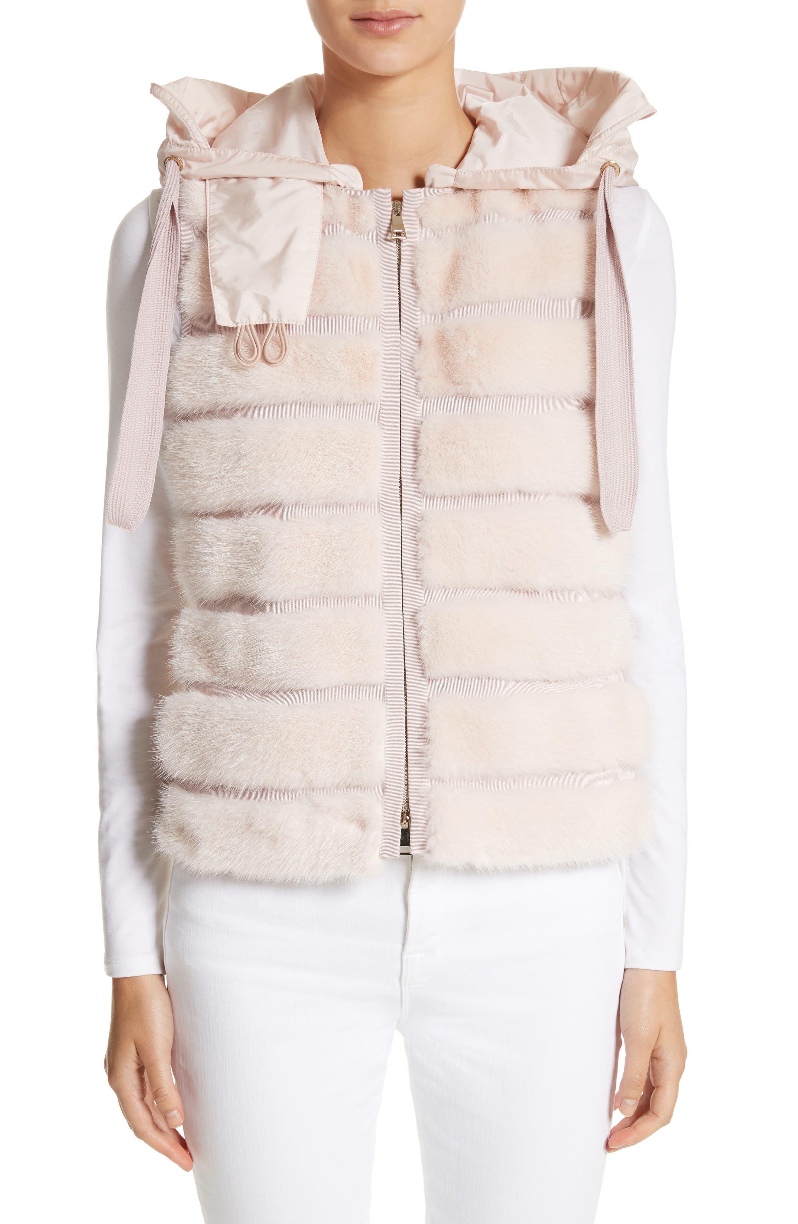 Ametrine Wool & Cashmere Vest with Genuine Mink Fur Trim & Removable Hood,                             Main thumbnail 1, color,                             Blush