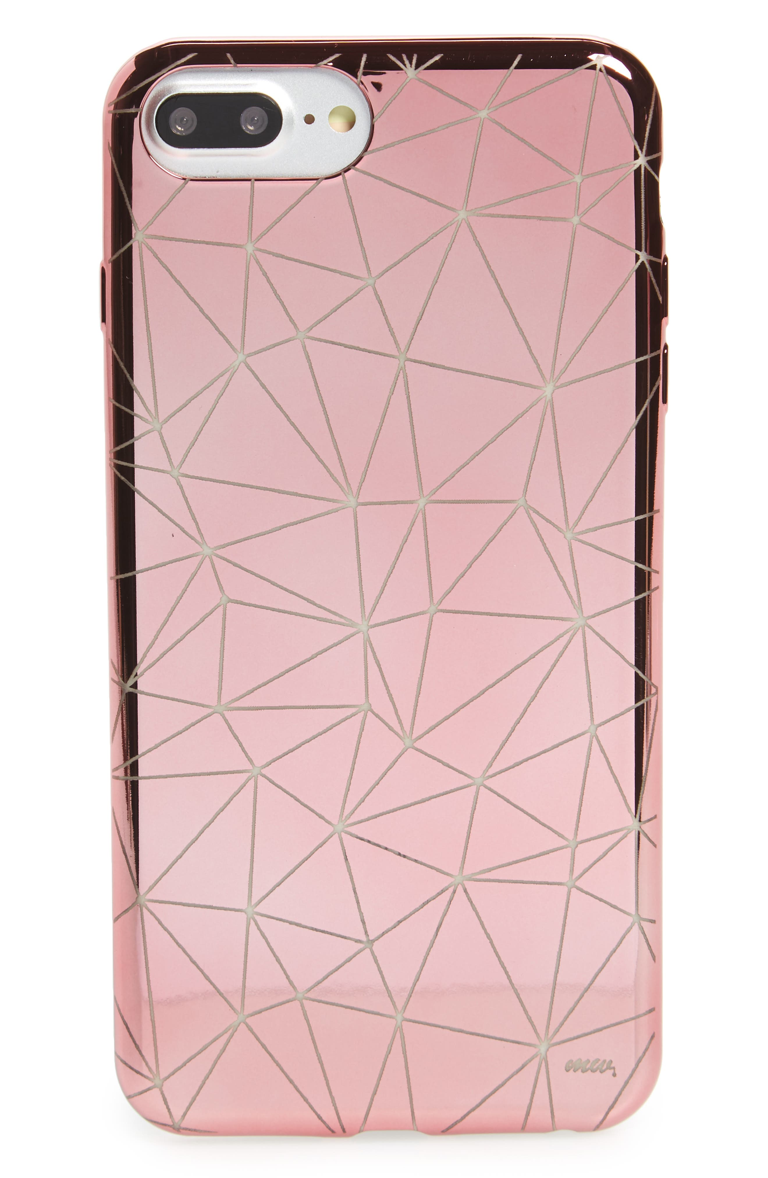 Geo Chrome iPhone 6/6s/7 Case,                         Main,                         color, Clear / Rose Gold