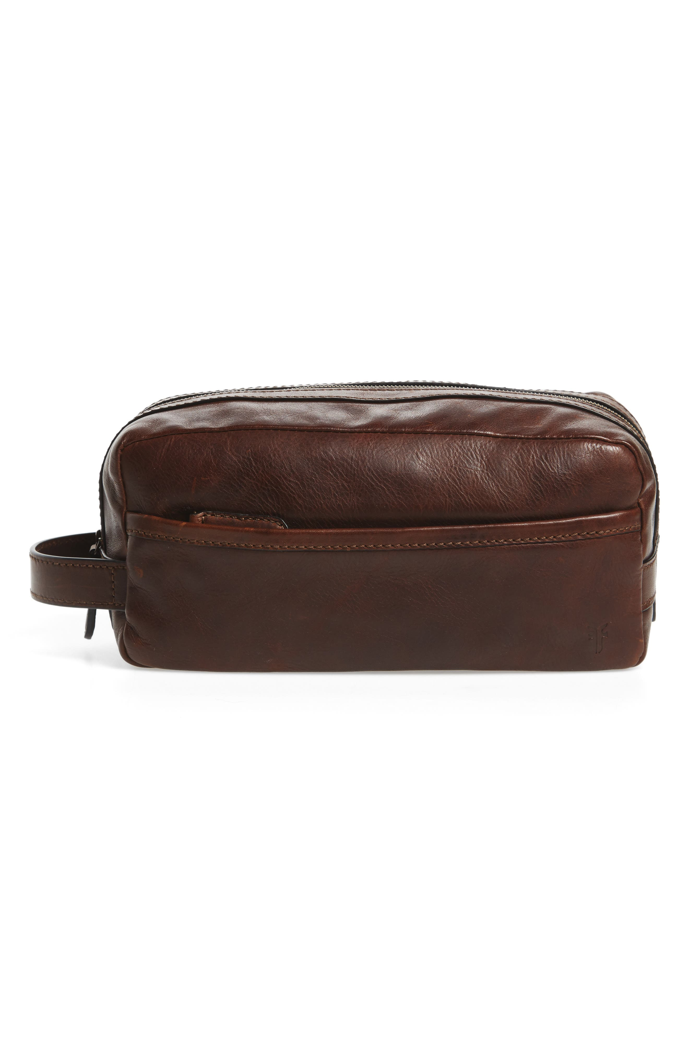'Logan' Leather Travel Kit,                             Main thumbnail 1, color,                             Dark Brown