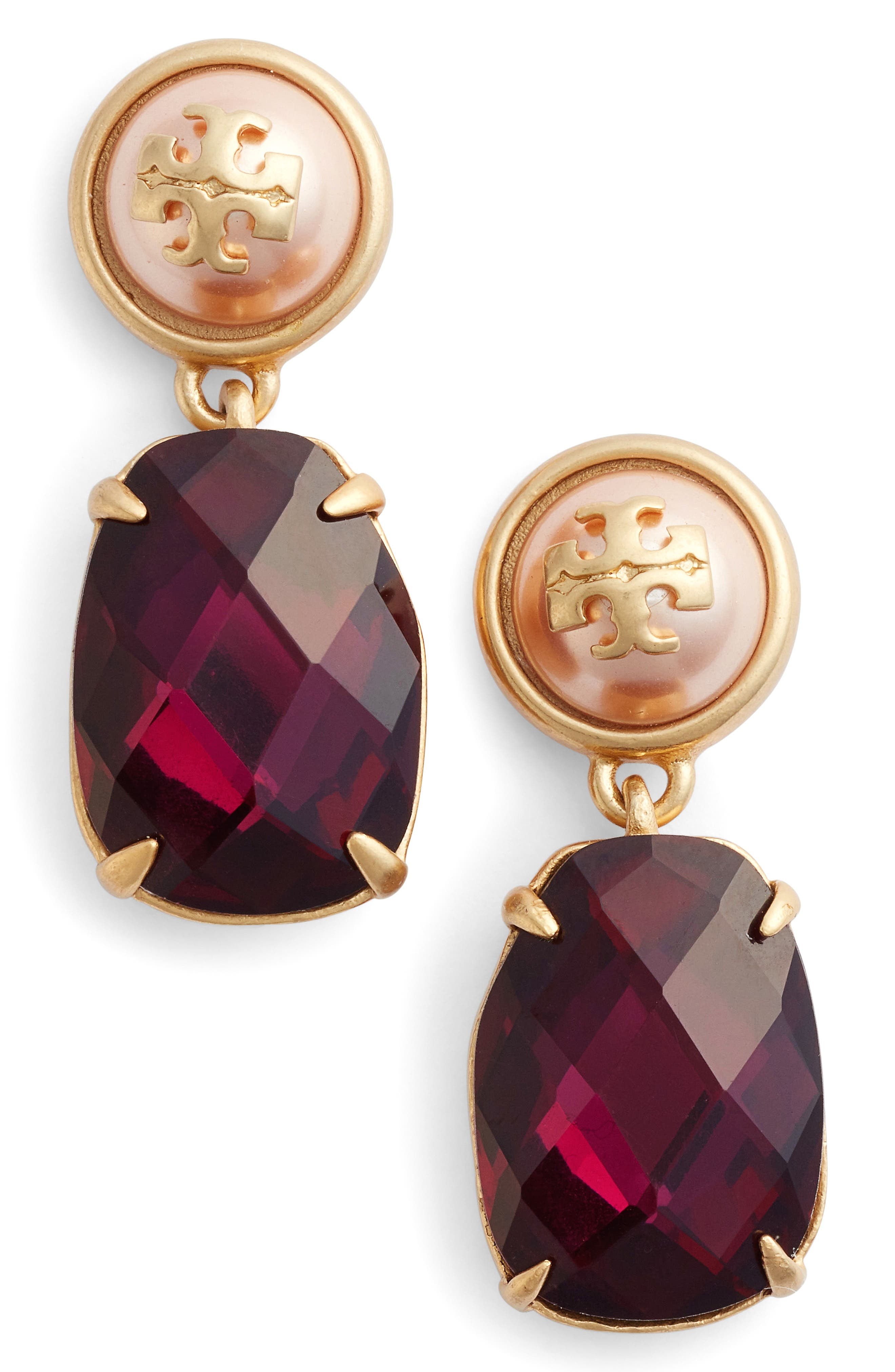 Epoxy Drop Earrings,                             Main thumbnail 1, color,                             Dark Amethyst / Vintage Gold