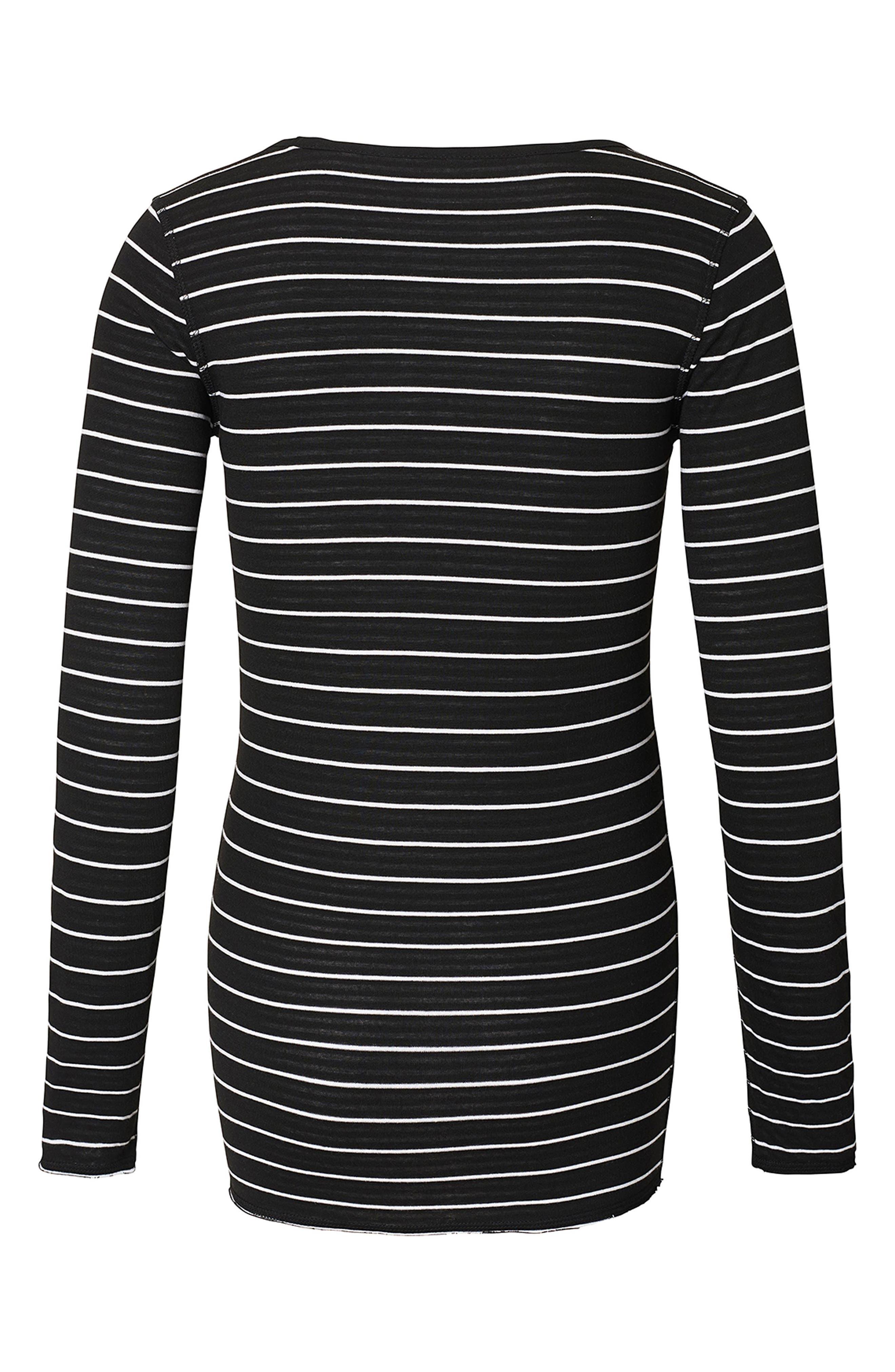 Ivy Stripe Maternity Shirt,                             Alternate thumbnail 3, color,                             Black
