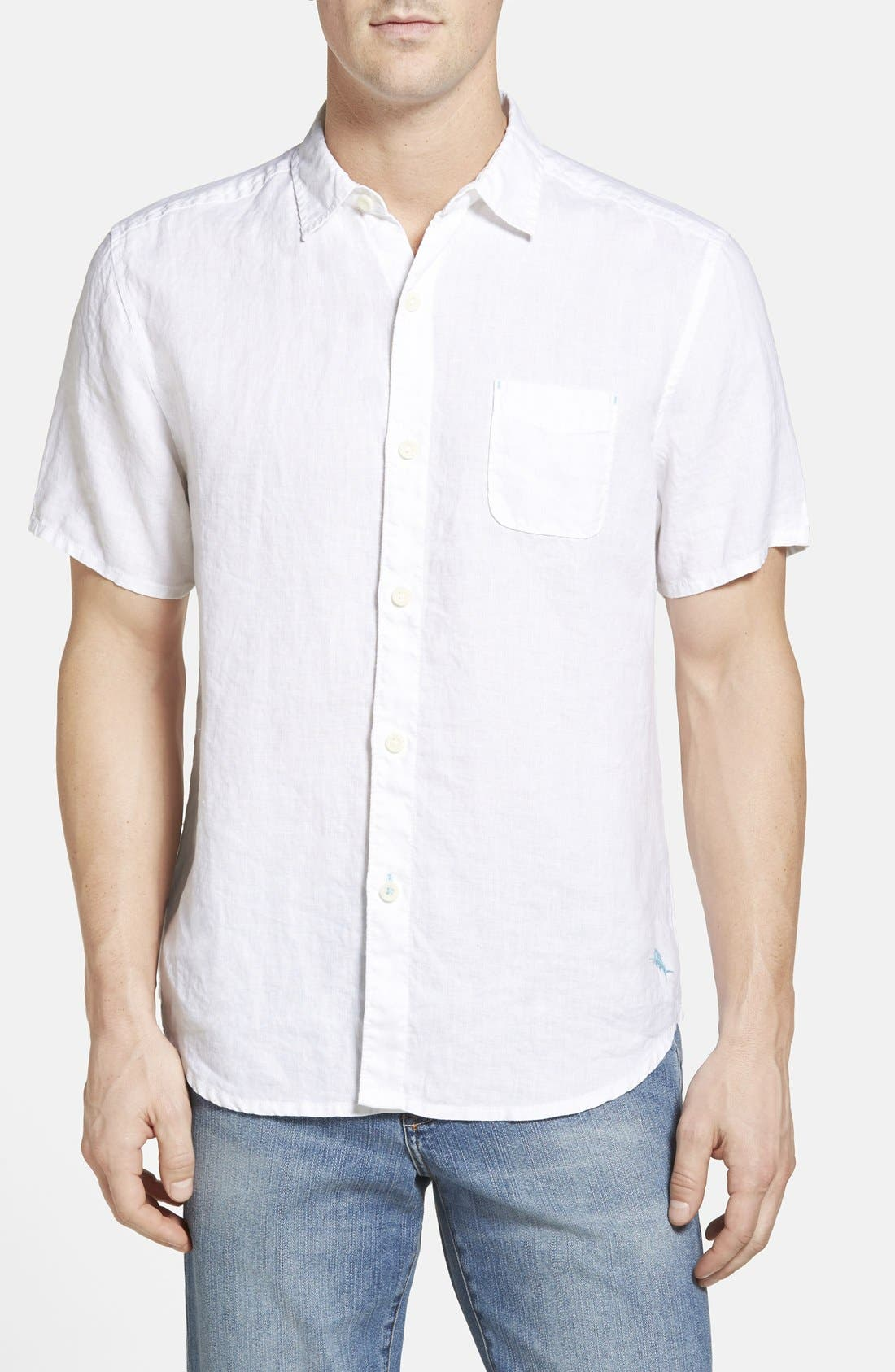 Seaglass Breezer Short Sleeve Linen Sport Shirt,                         Main,                         color, White