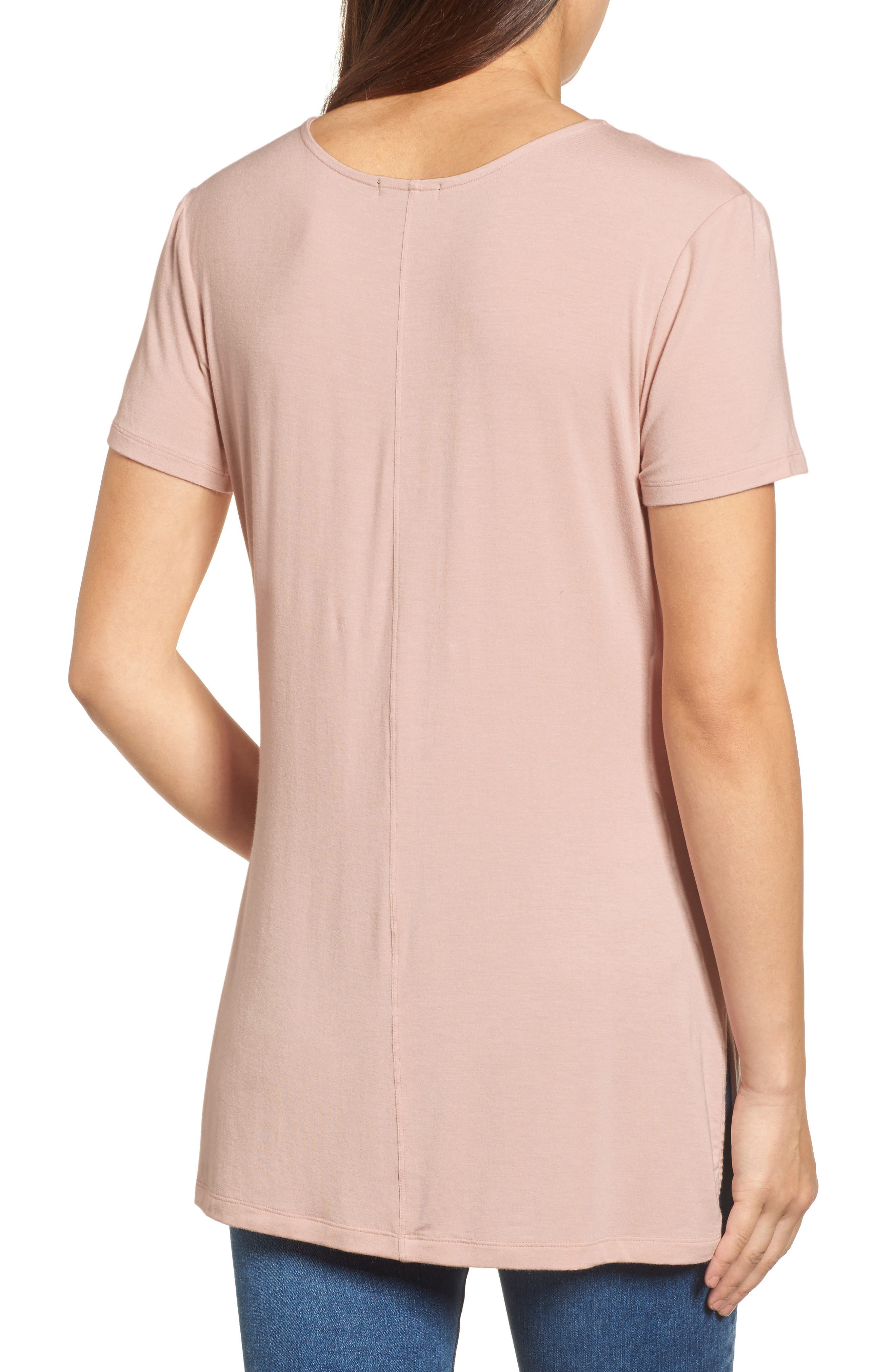 Alternate Image 2  - Halogen® V-Neck Tunic Tee (Regular & Petite)
