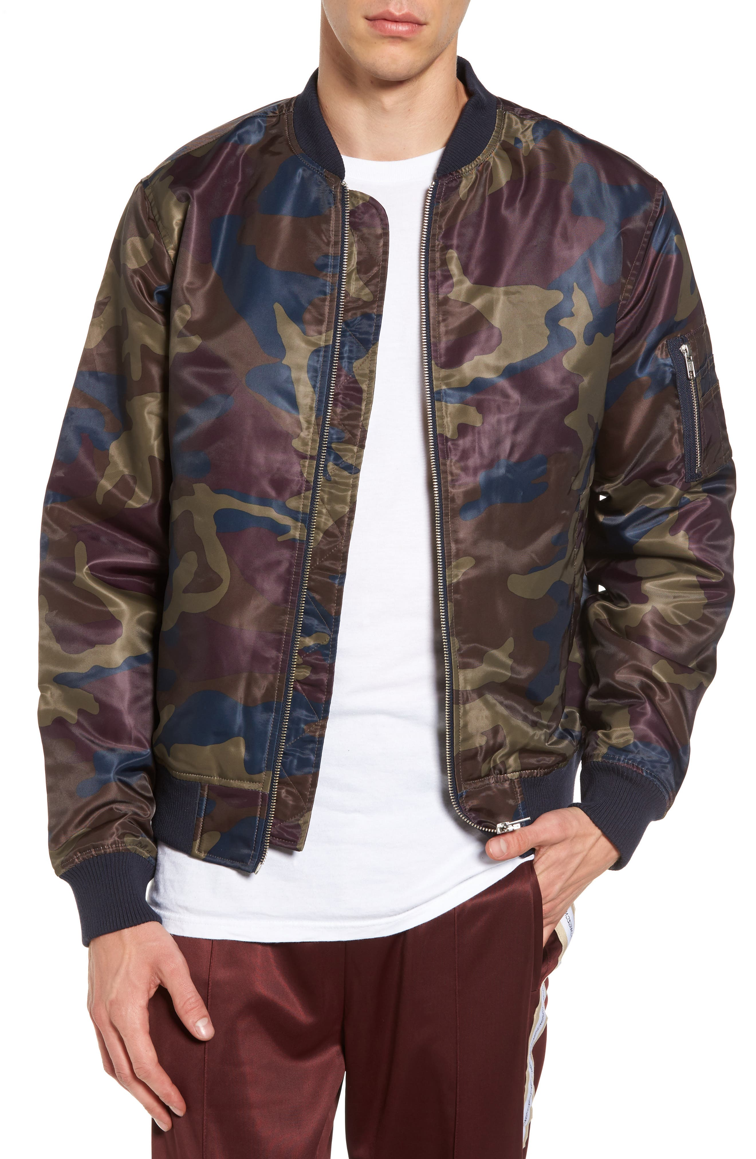 The Camo Bomber Jacket,                         Main,                         color, Red Port