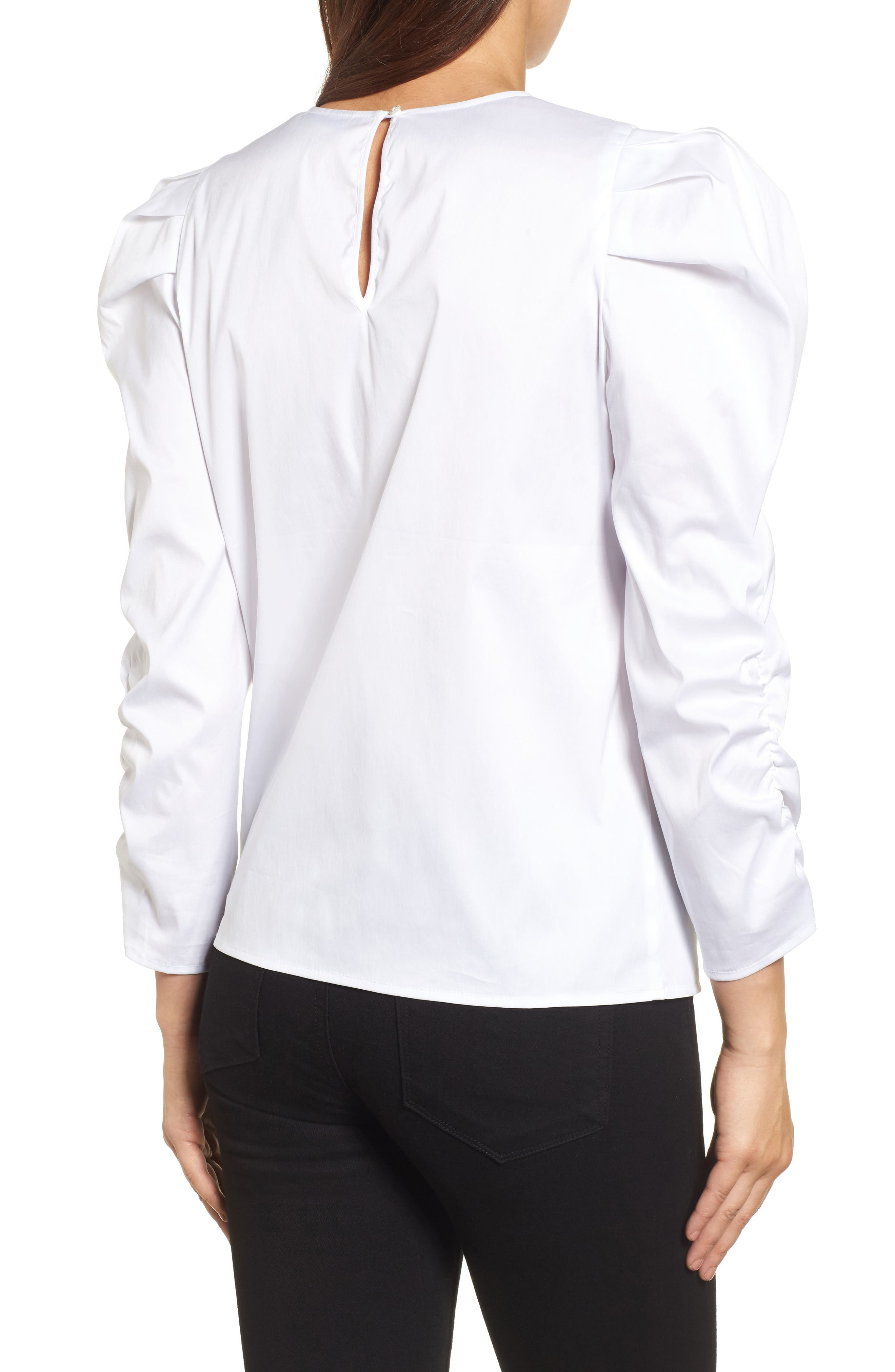 Ruched Sleeve Poplin Top,                             Alternate thumbnail 2, color,                             White
