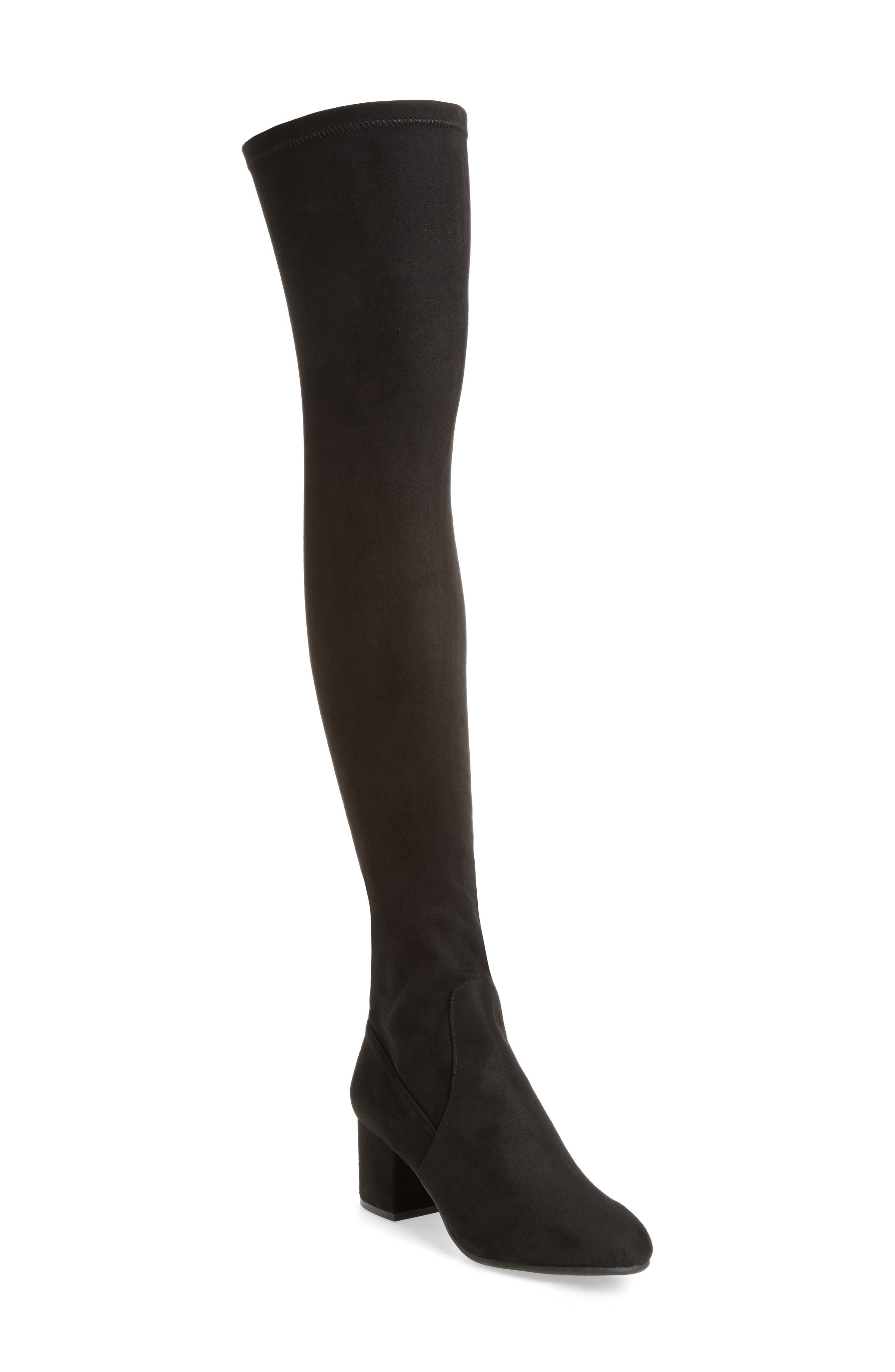 Isaac Over the Knee Boot,                         Main,                         color, Black Suede