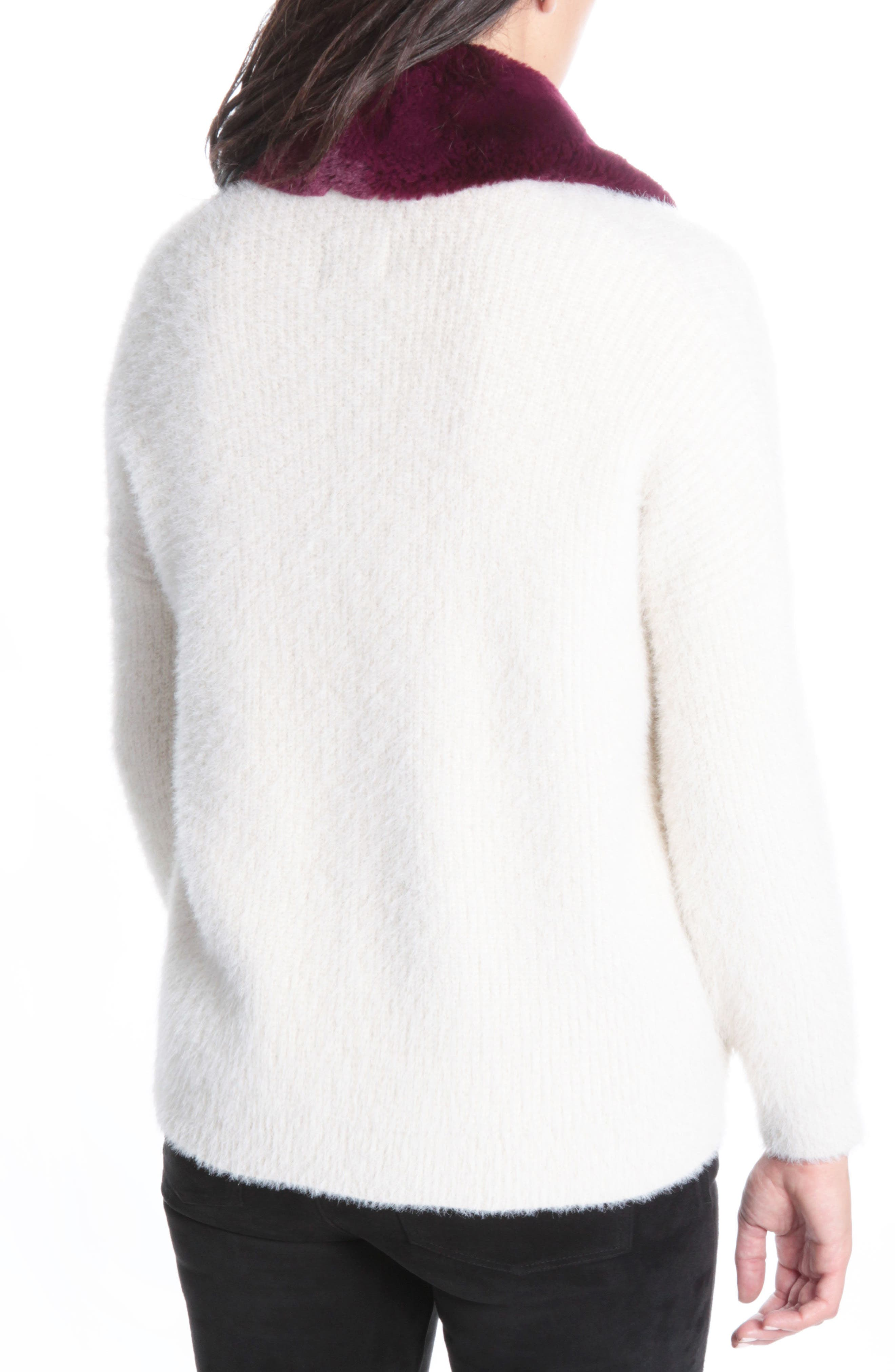 Fredrica Faux Fur Collar Knit Sweater,                             Alternate thumbnail 2, color,                             Cream