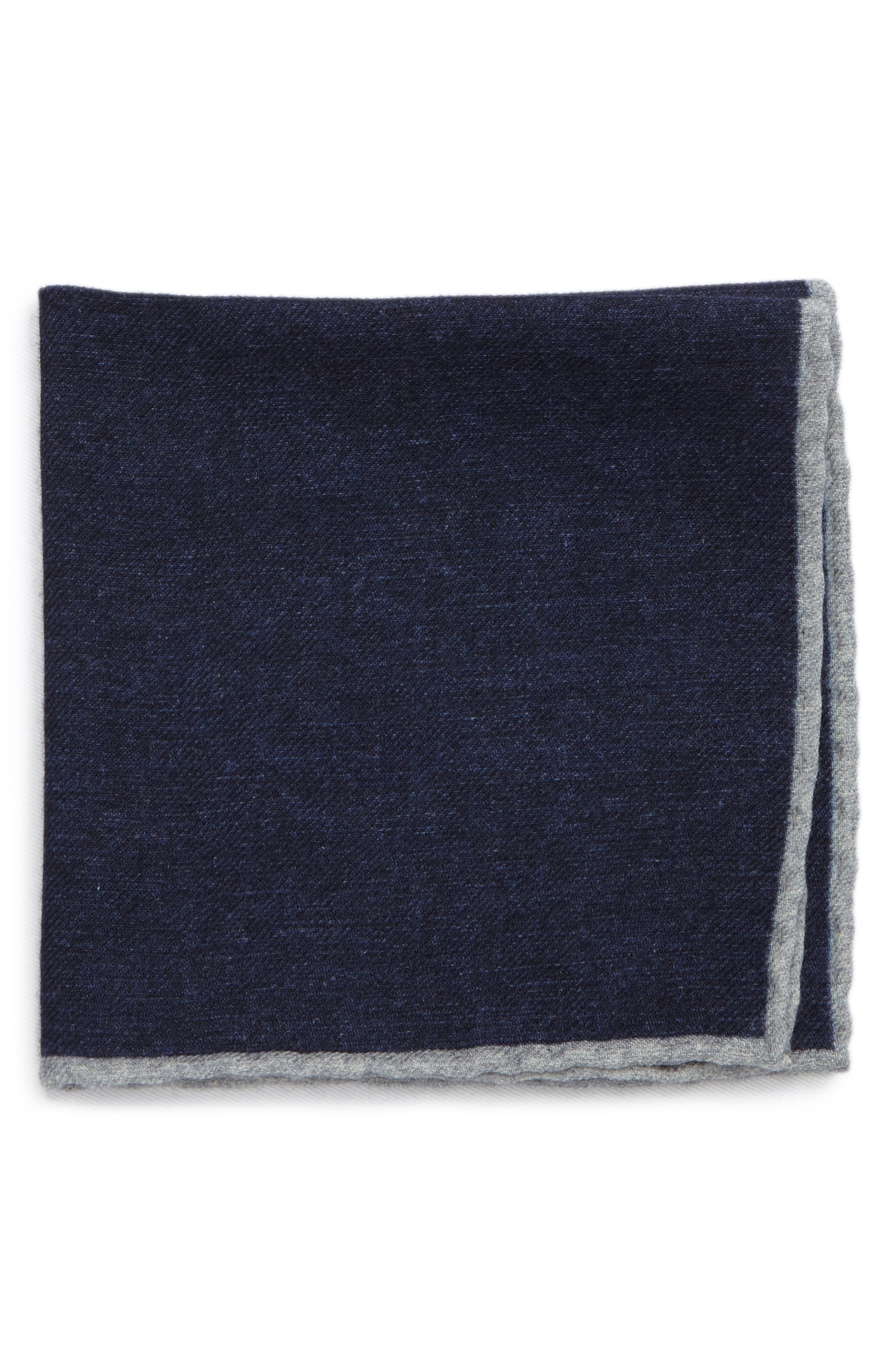 Flannel Wool Pocket Square,                         Main,                         color, Blue