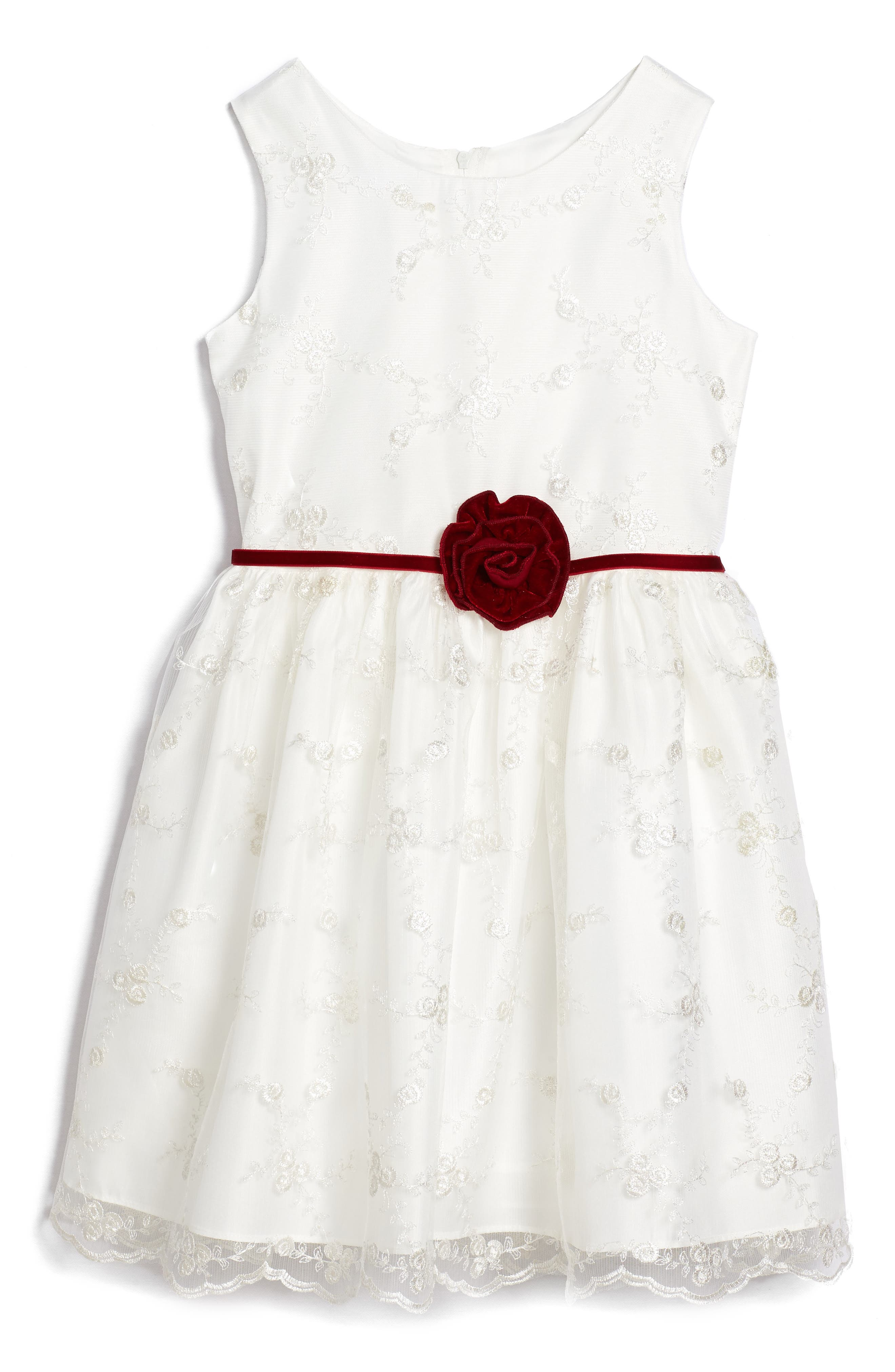 Embroidered Floral Dress,                         Main,                         color, White/ Gold