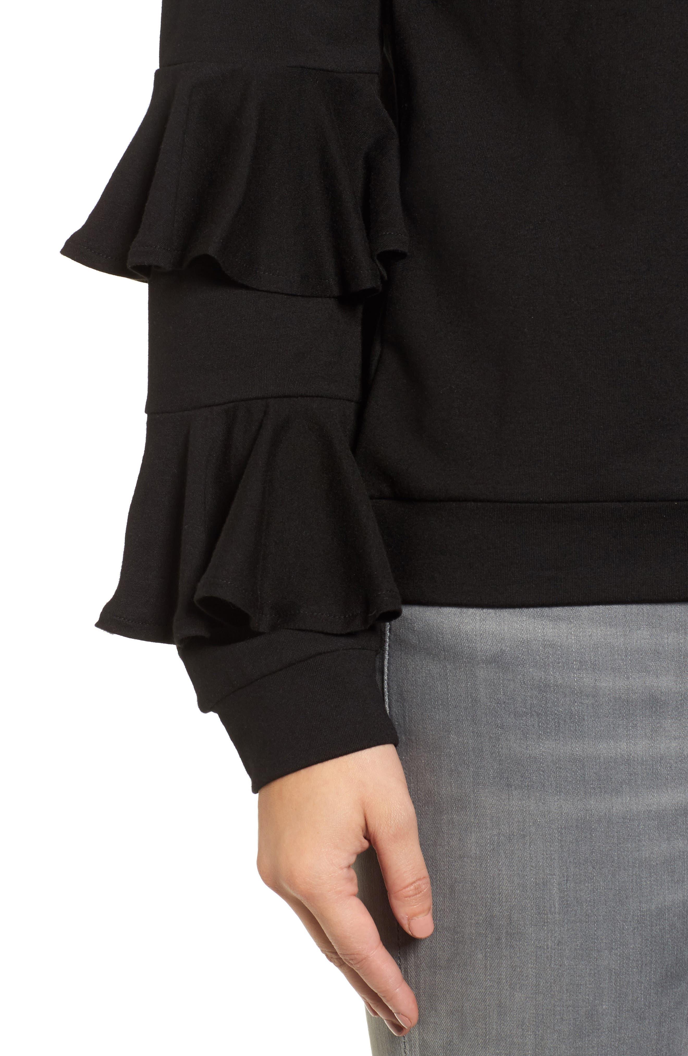 Alternate Image 4  - Halogen® Ruffle Sleeve Sweatshirt (Regular & Petite)