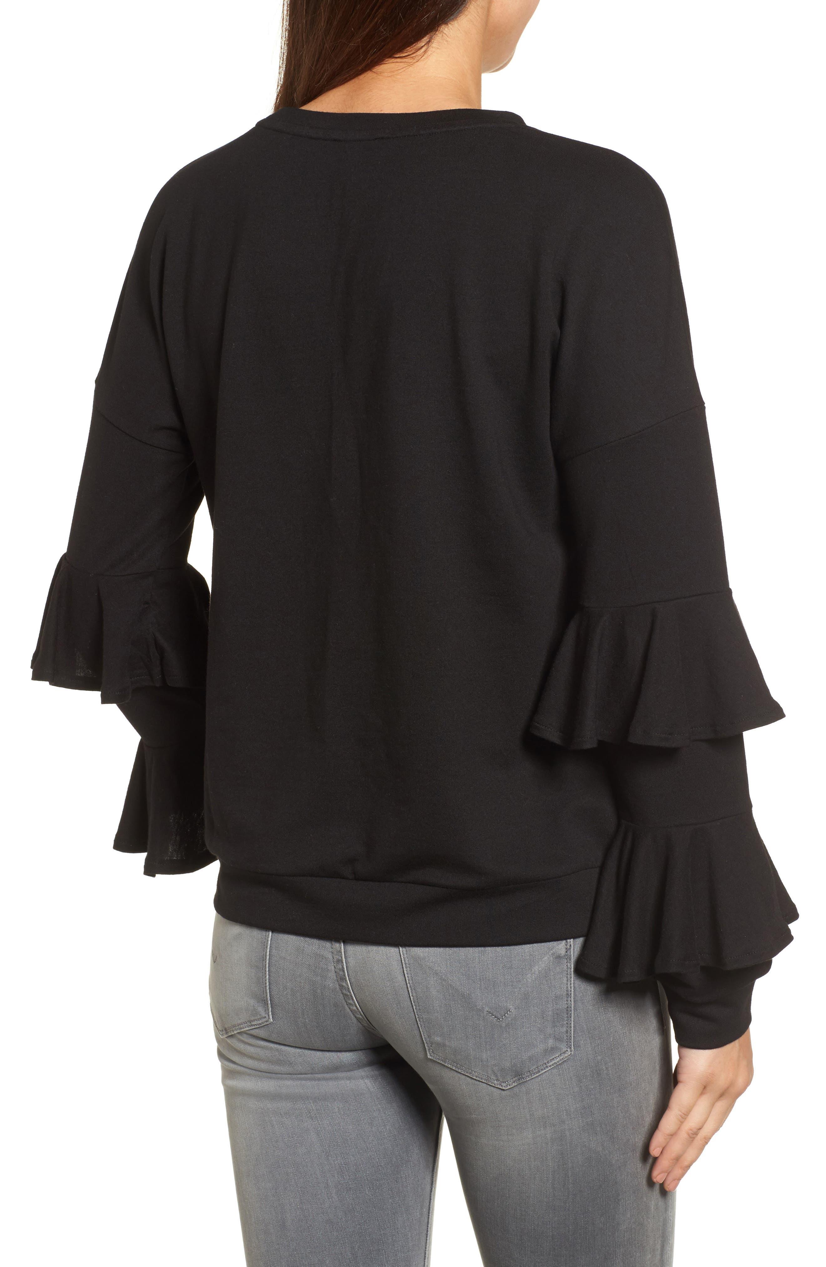 Alternate Image 2  - Halogen® Ruffle Sleeve Sweatshirt (Regular & Petite)