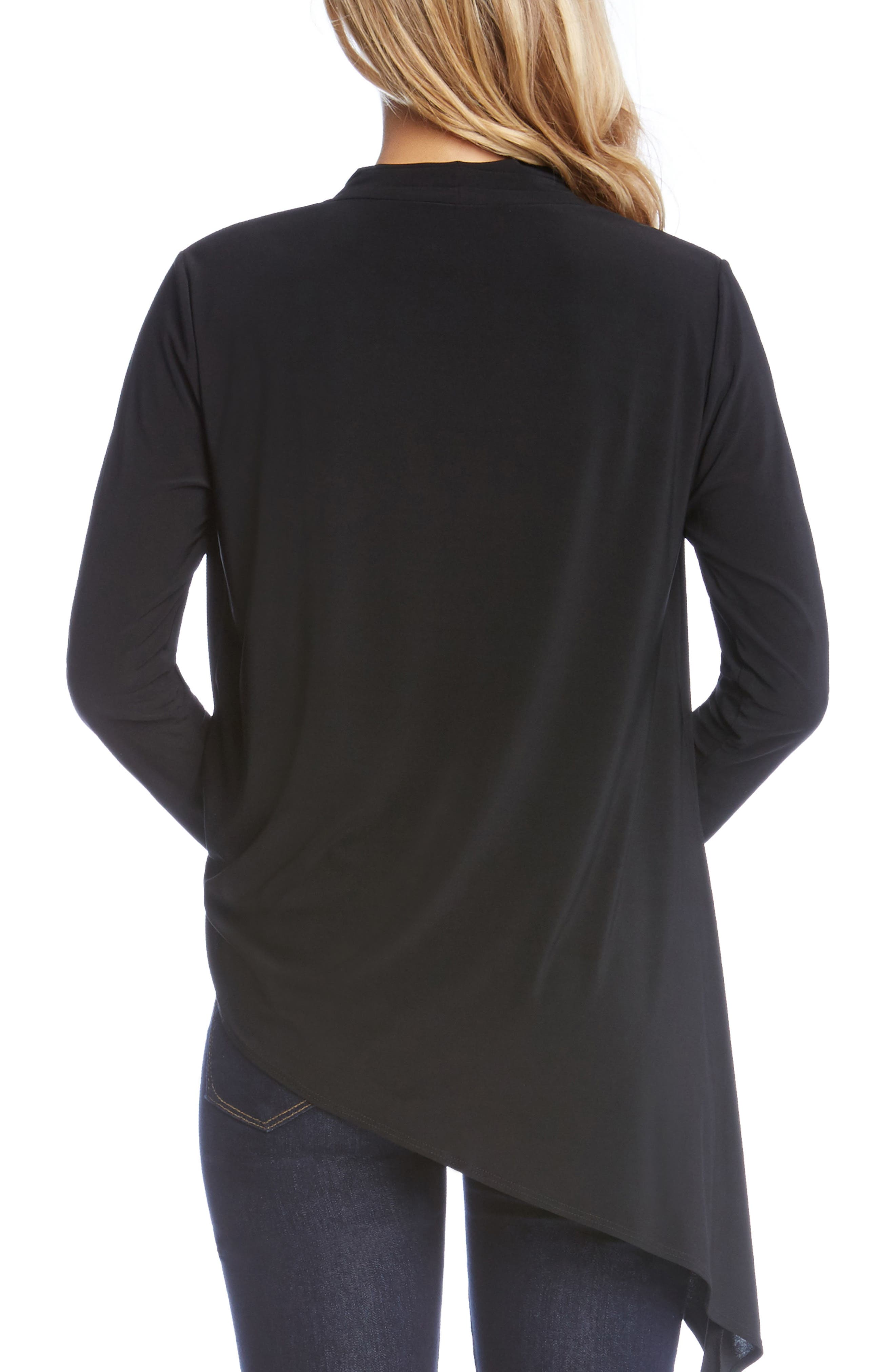 Asymmetrical Faux Wrap Top,                             Alternate thumbnail 3, color,                             Black
