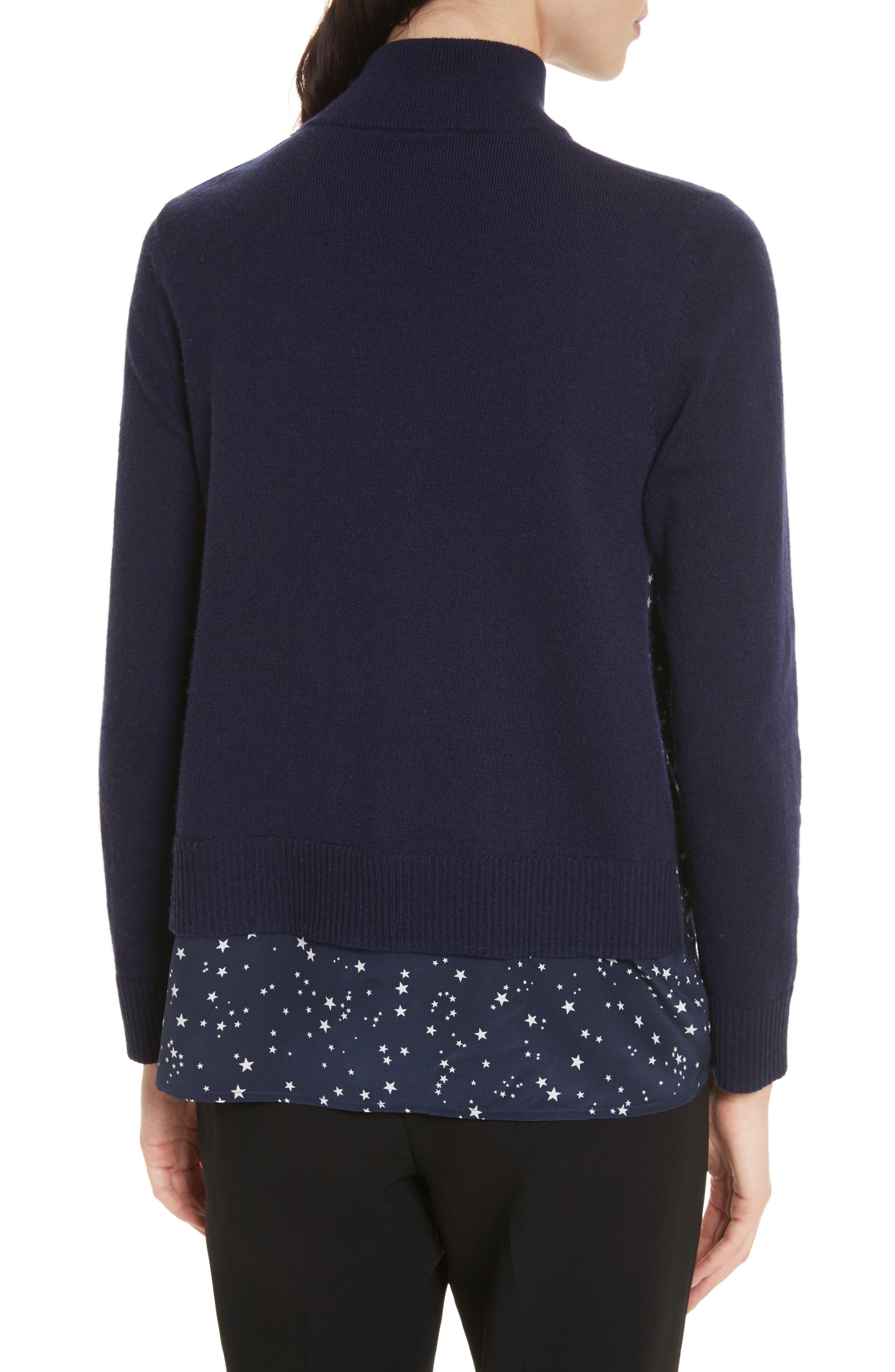 night sky mixed media sweater,                             Alternate thumbnail 2, color,                             Rich Navy