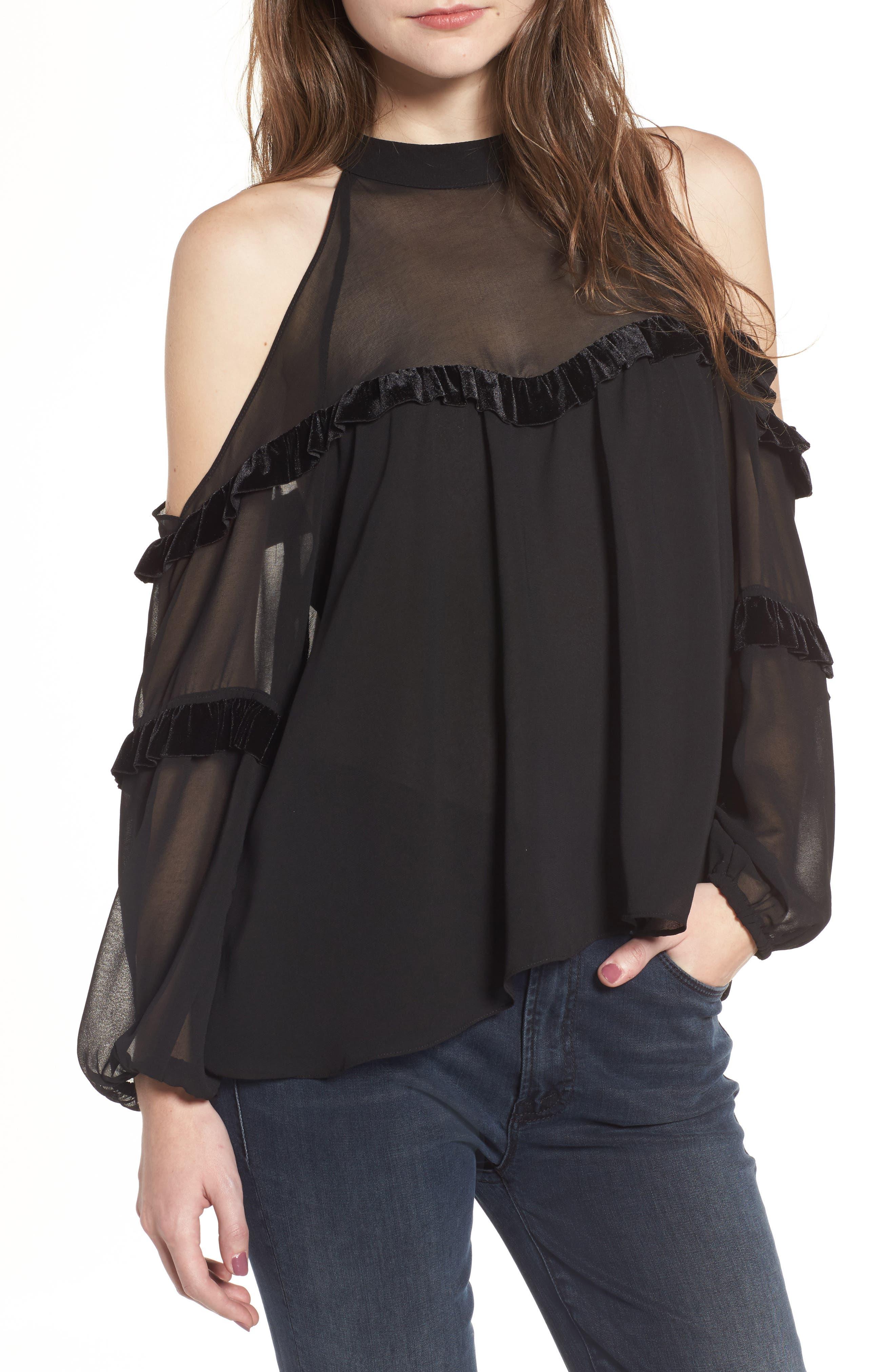 Pippa Cold Shoulder Top,                         Main,                         color, Ink Black