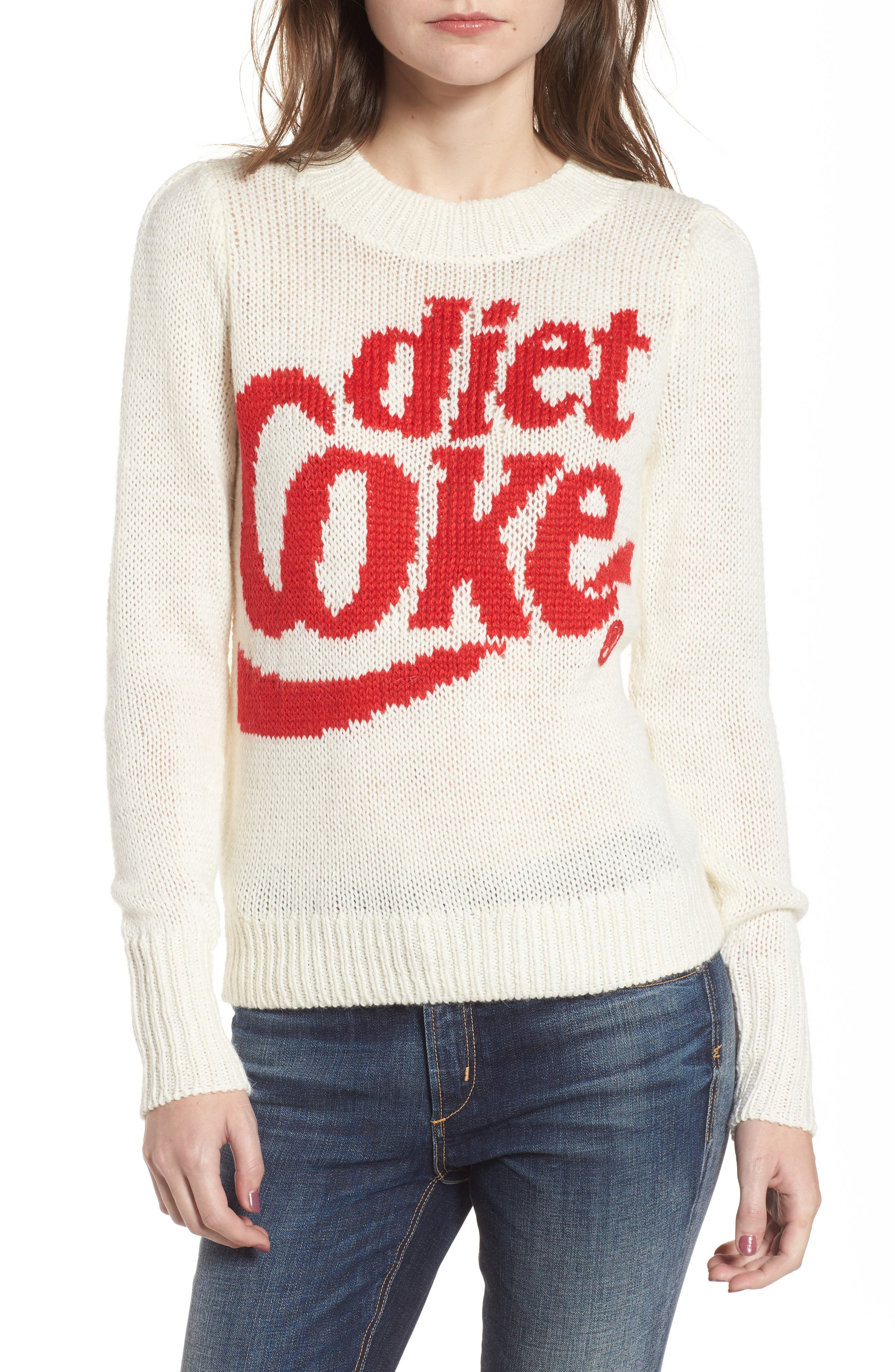 Diet Coke<sup>®</sup> Sweater,                             Main thumbnail 1, color,                             Clean White