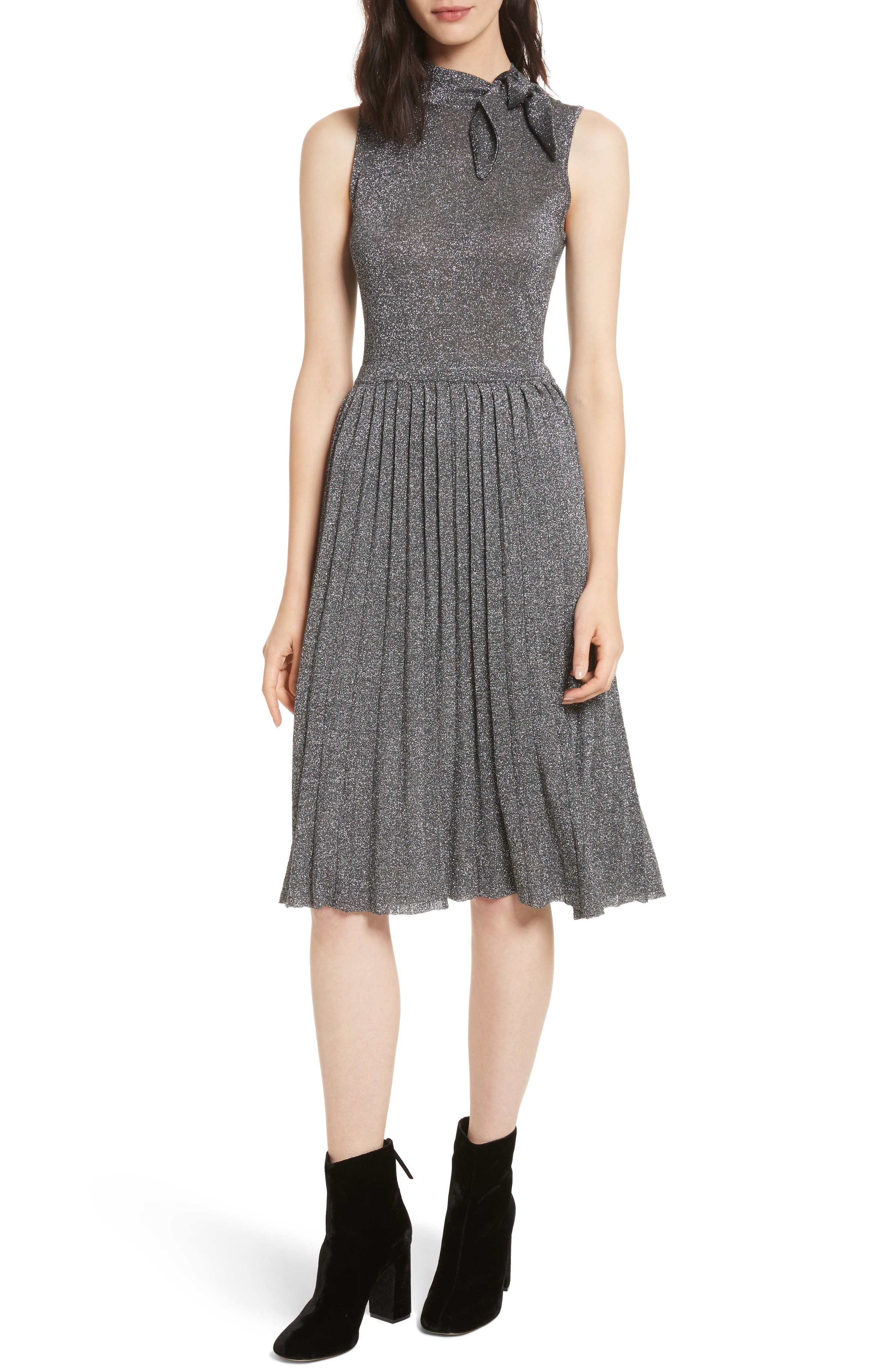 metallic knot sweater dress,                         Main,                         color, Dark Silver