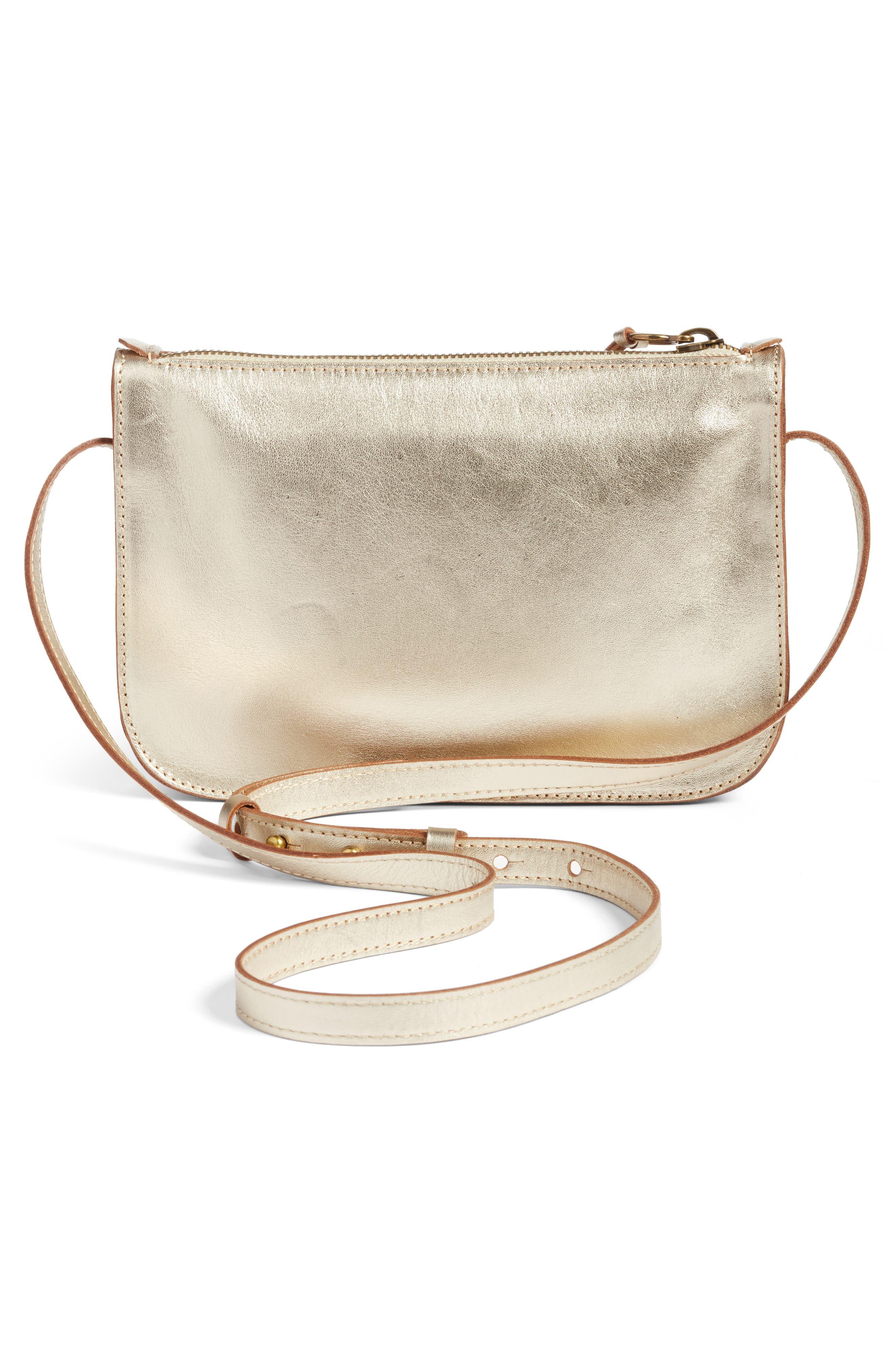 Leather Crossbody Bag,                             Alternate thumbnail 3, color,                             Gold Metallic