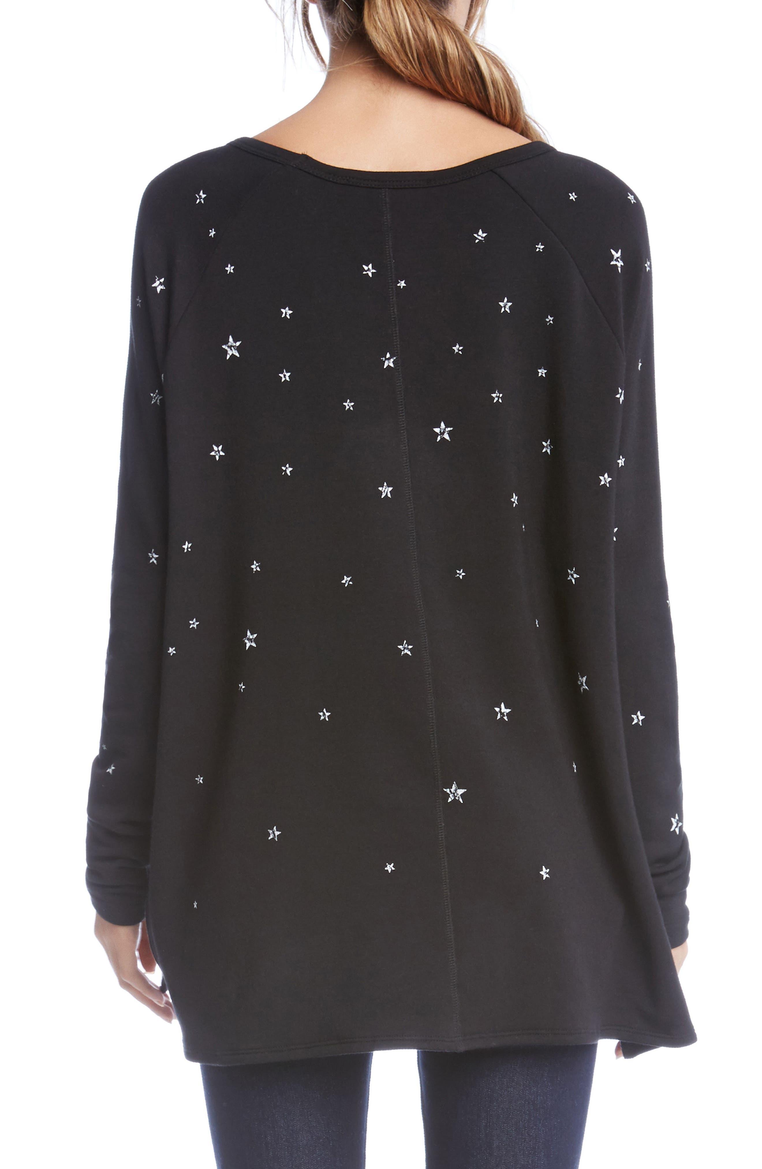 Star Print High/Low Sweatshirt,                             Alternate thumbnail 2, color,                             Black