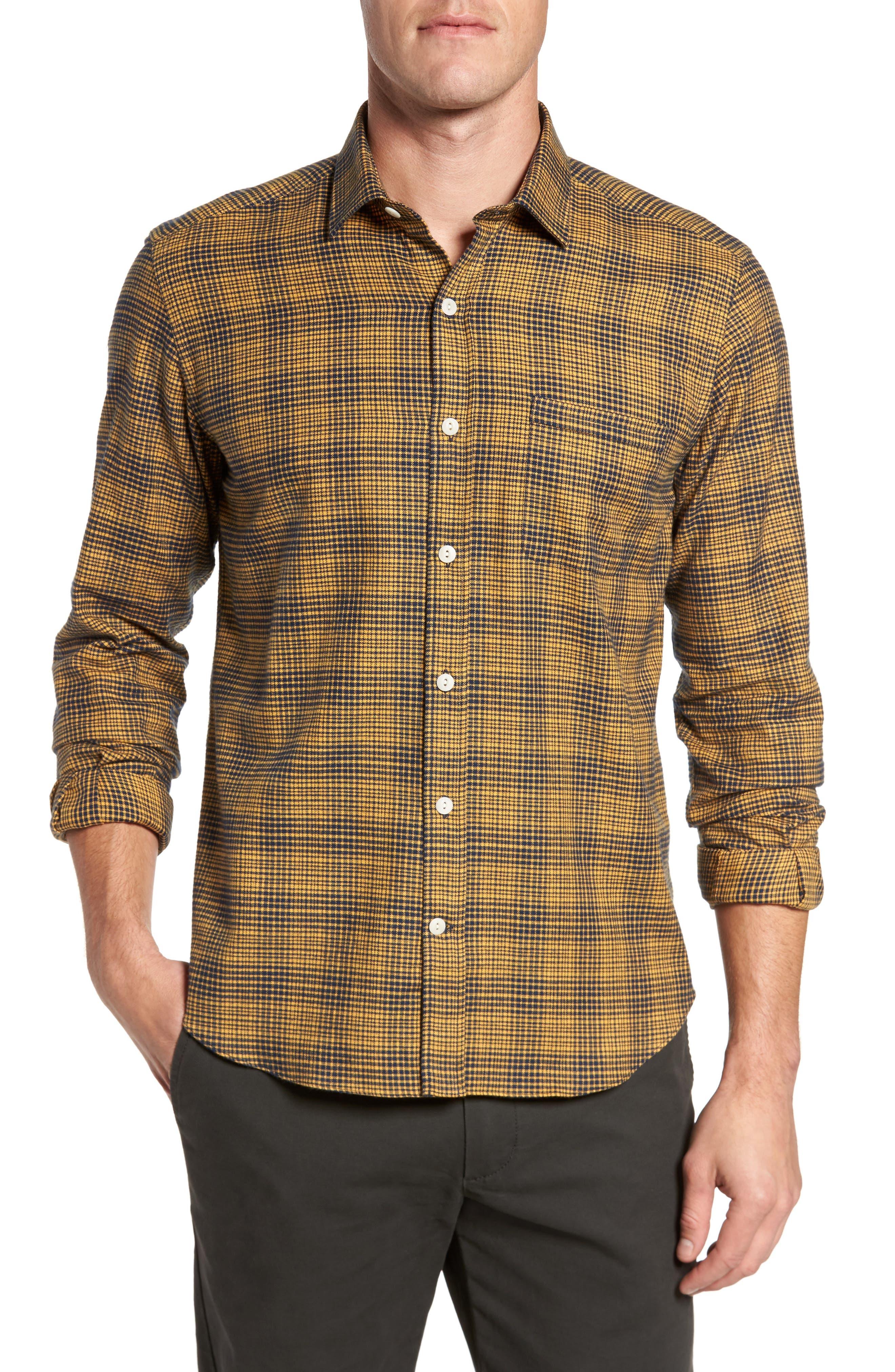 Glen Plaid Sport Shirt,                         Main,                         color, Yellow