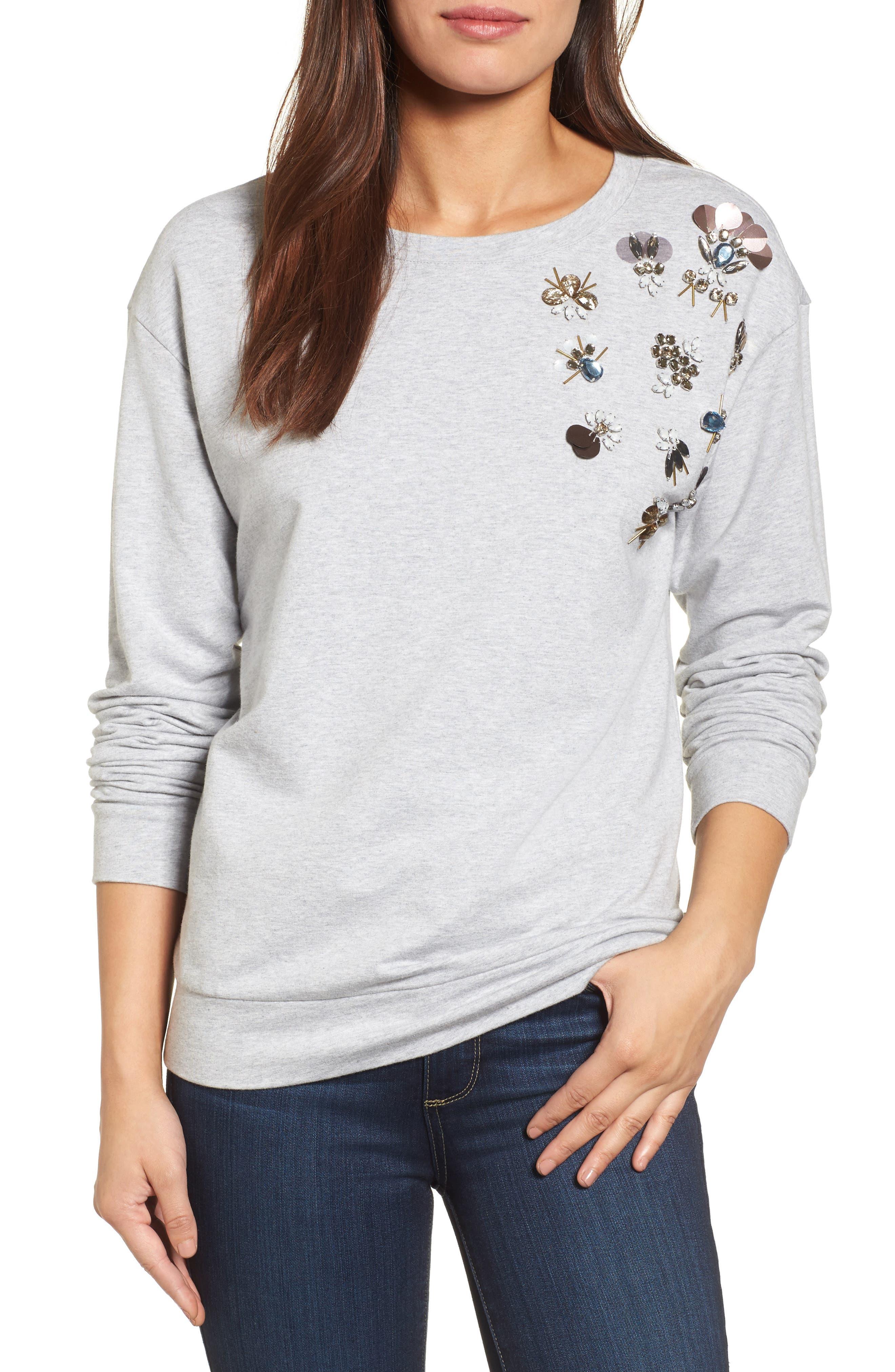 Embellished Sweatshirt,                         Main,                         color, Grey Heather