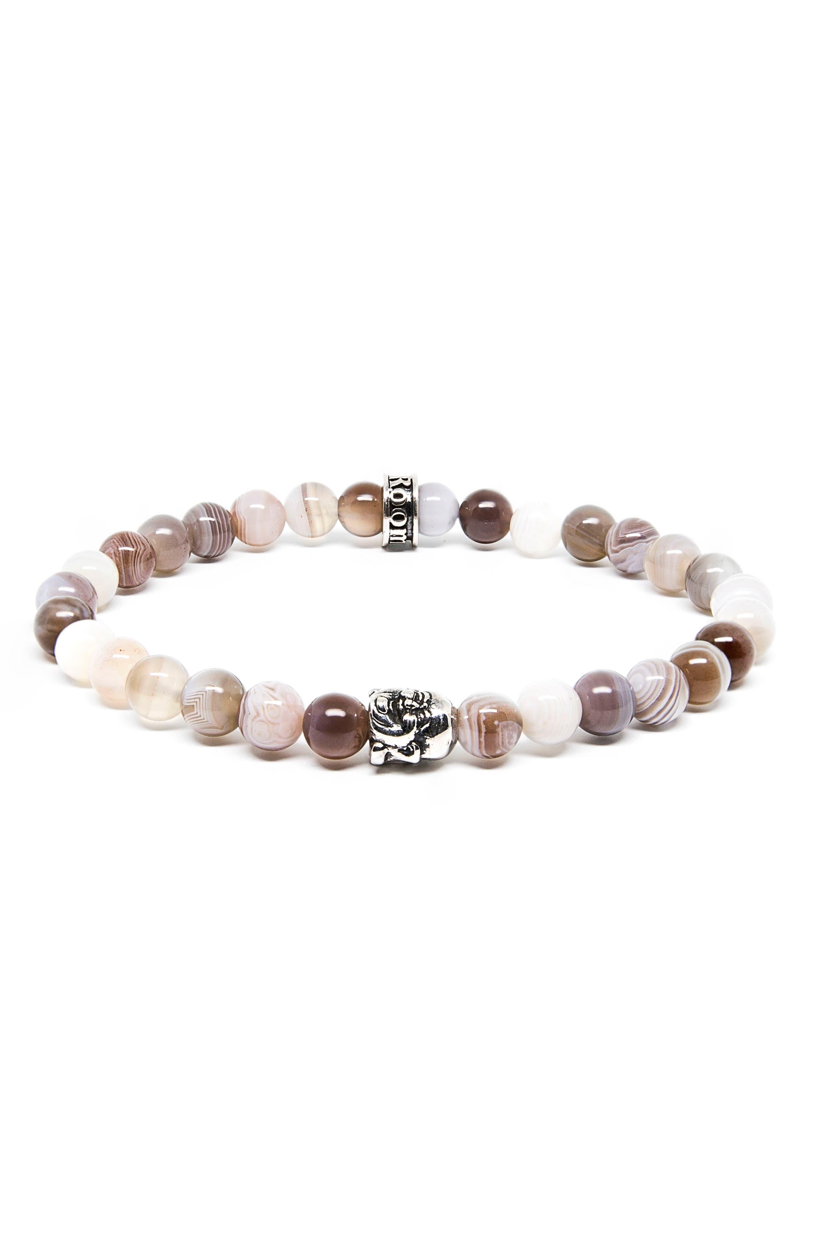 Agate Buddha Stretch Bracelet,                         Main,                         color, Grey