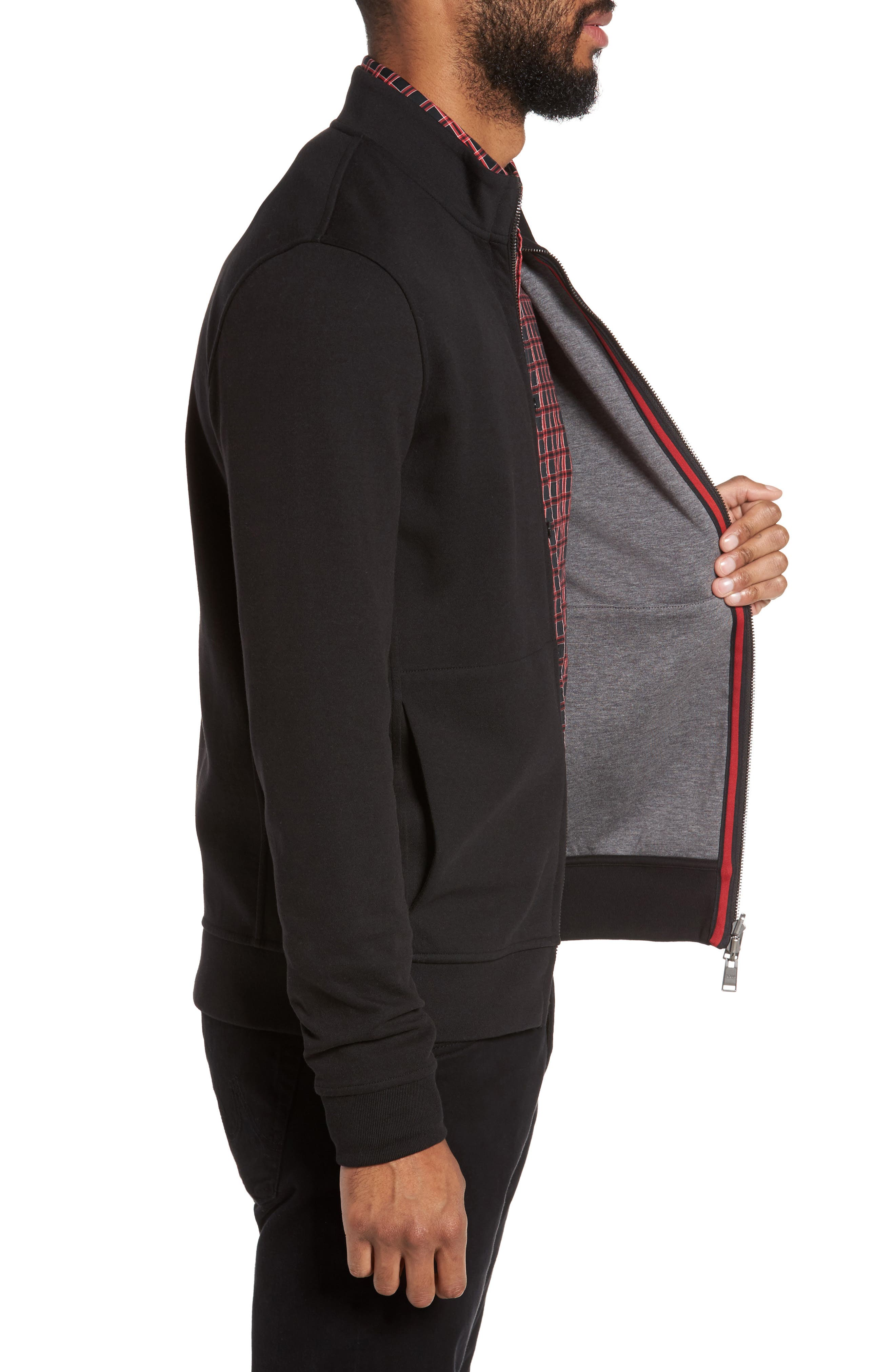 Scavo Reversible Fleece Jacket,                             Alternate thumbnail 4, color,                             Black
