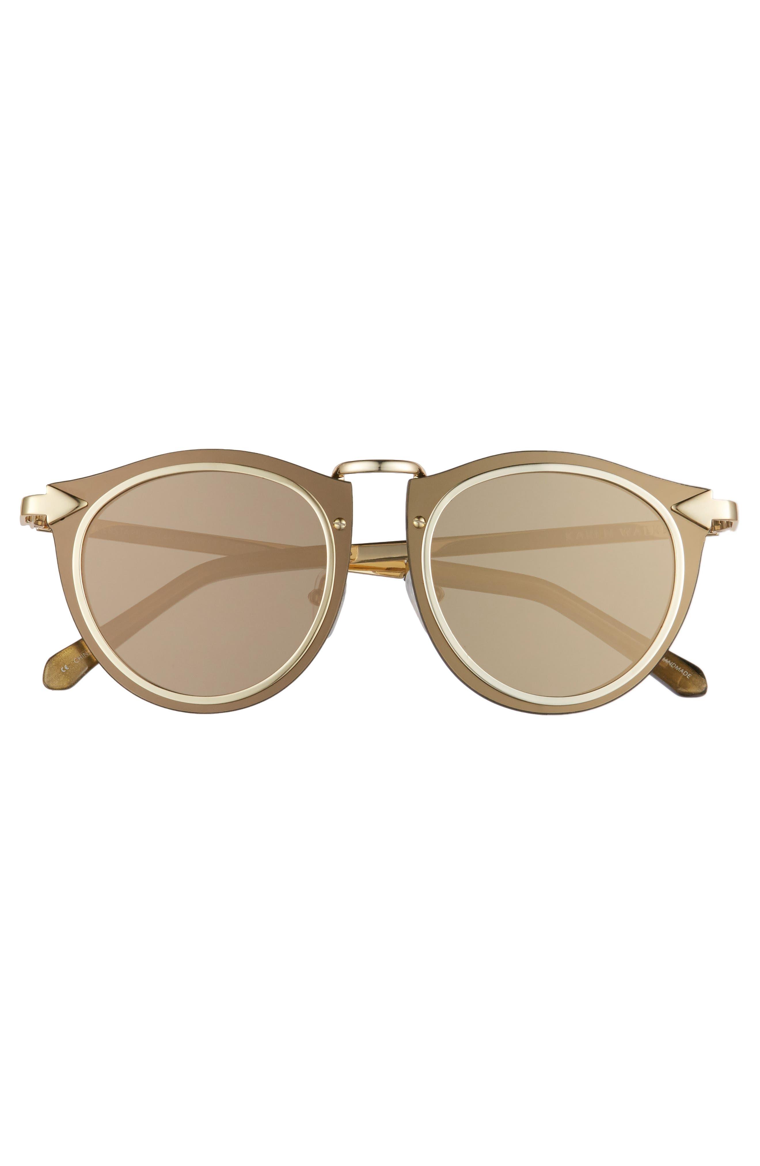 Superstars - Solar 50mm Retro Sunglasses,                             Alternate thumbnail 3, color,                             Gold