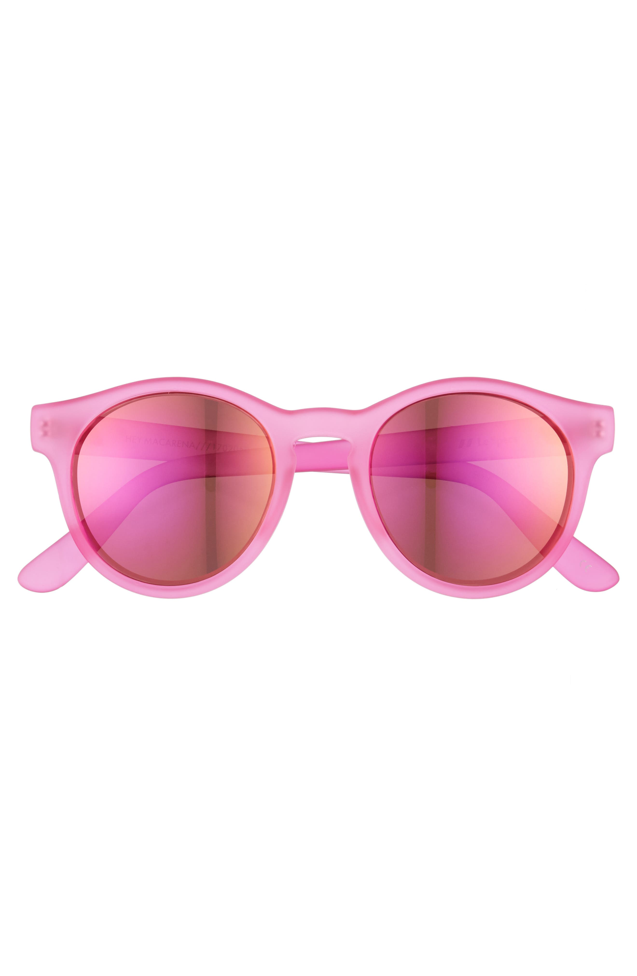Hey Macarena 51mm Round Sunglasses,                             Alternate thumbnail 3, color,                             Matte Magenta