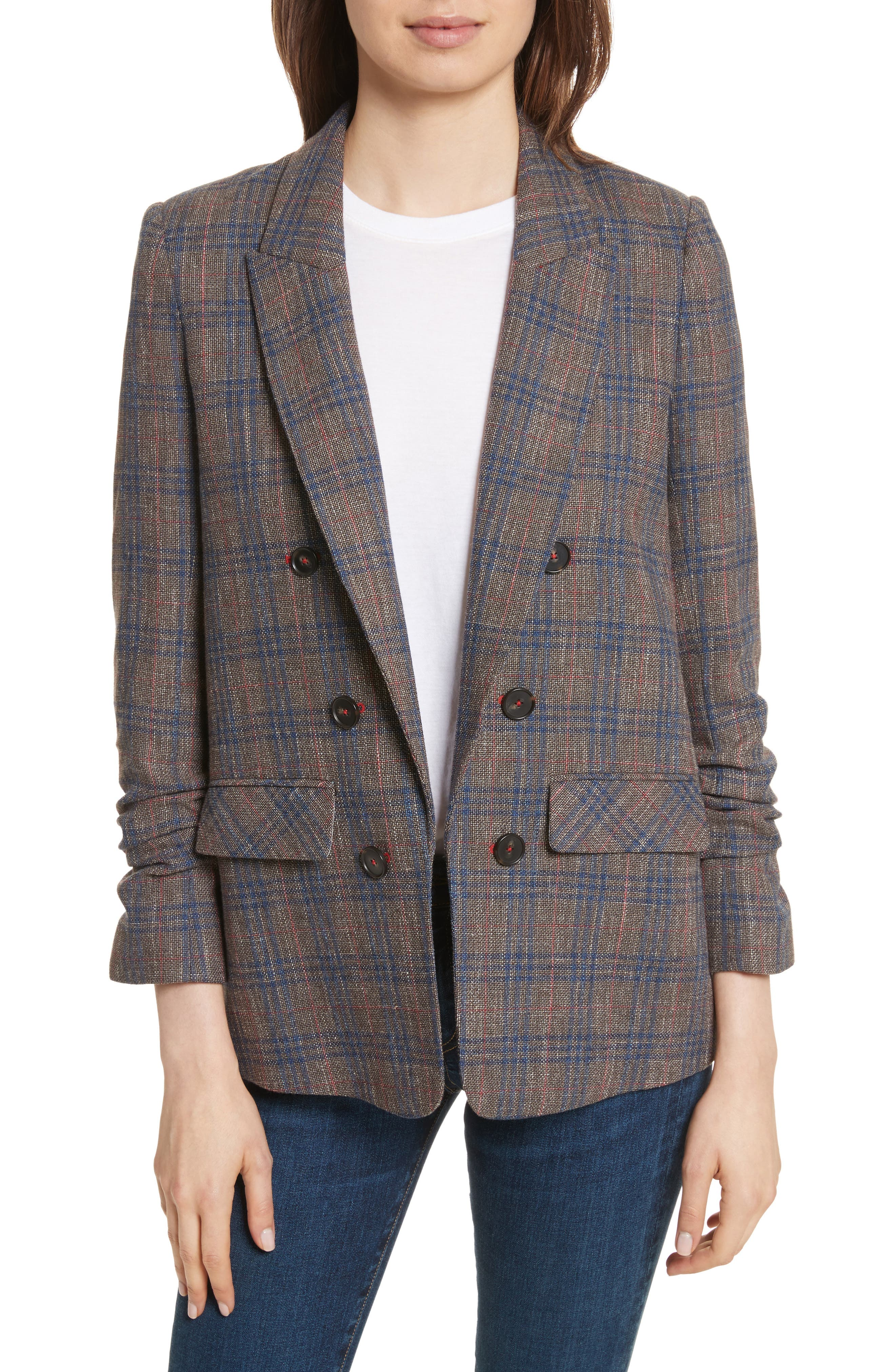 Veronica Beard Beacon Plaid Faux Double Breasted Blazer